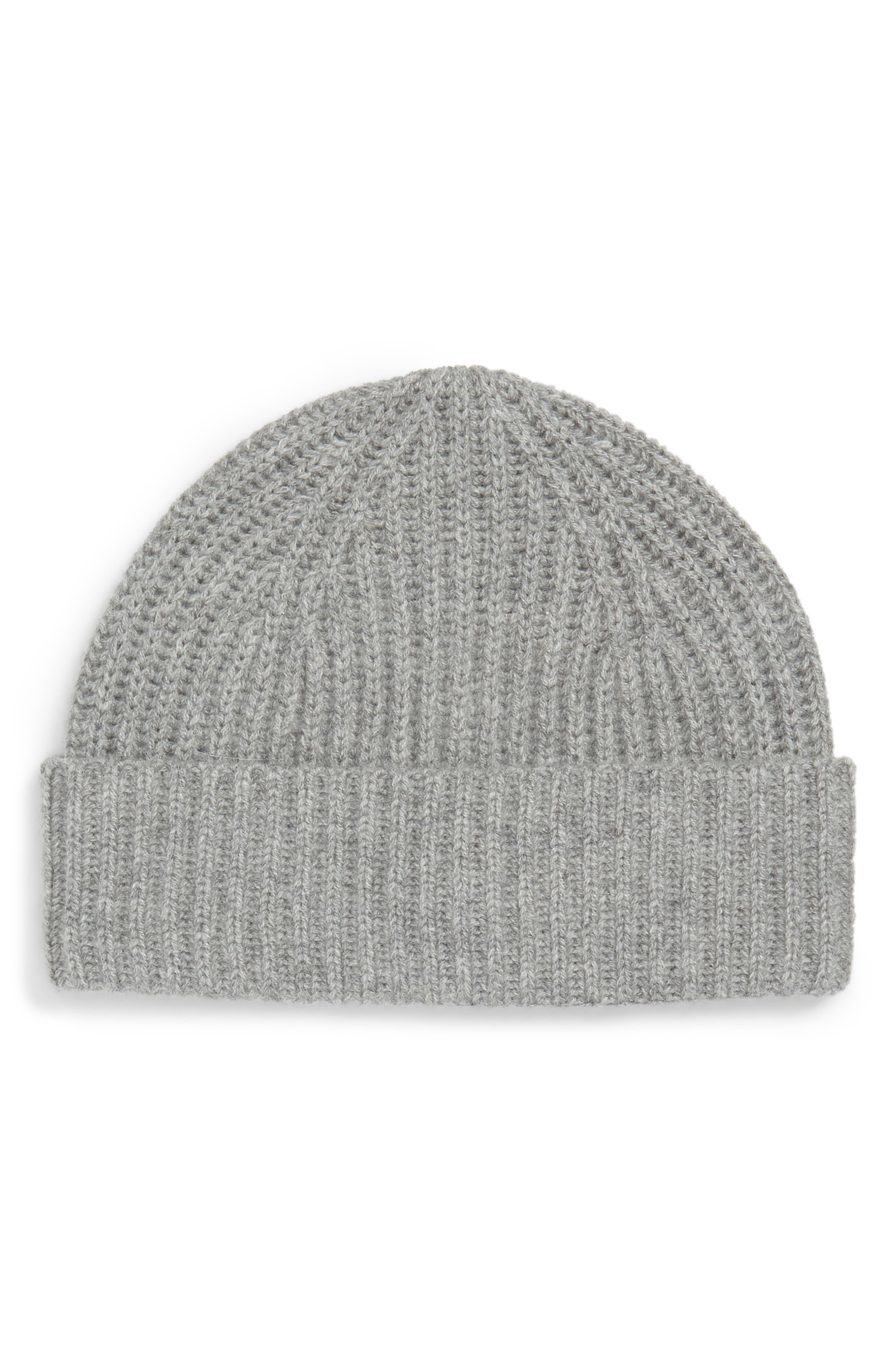 Cashmere Knit Cap,                             Main thumbnail 1, color,                             LIGHT GREY HEATHER