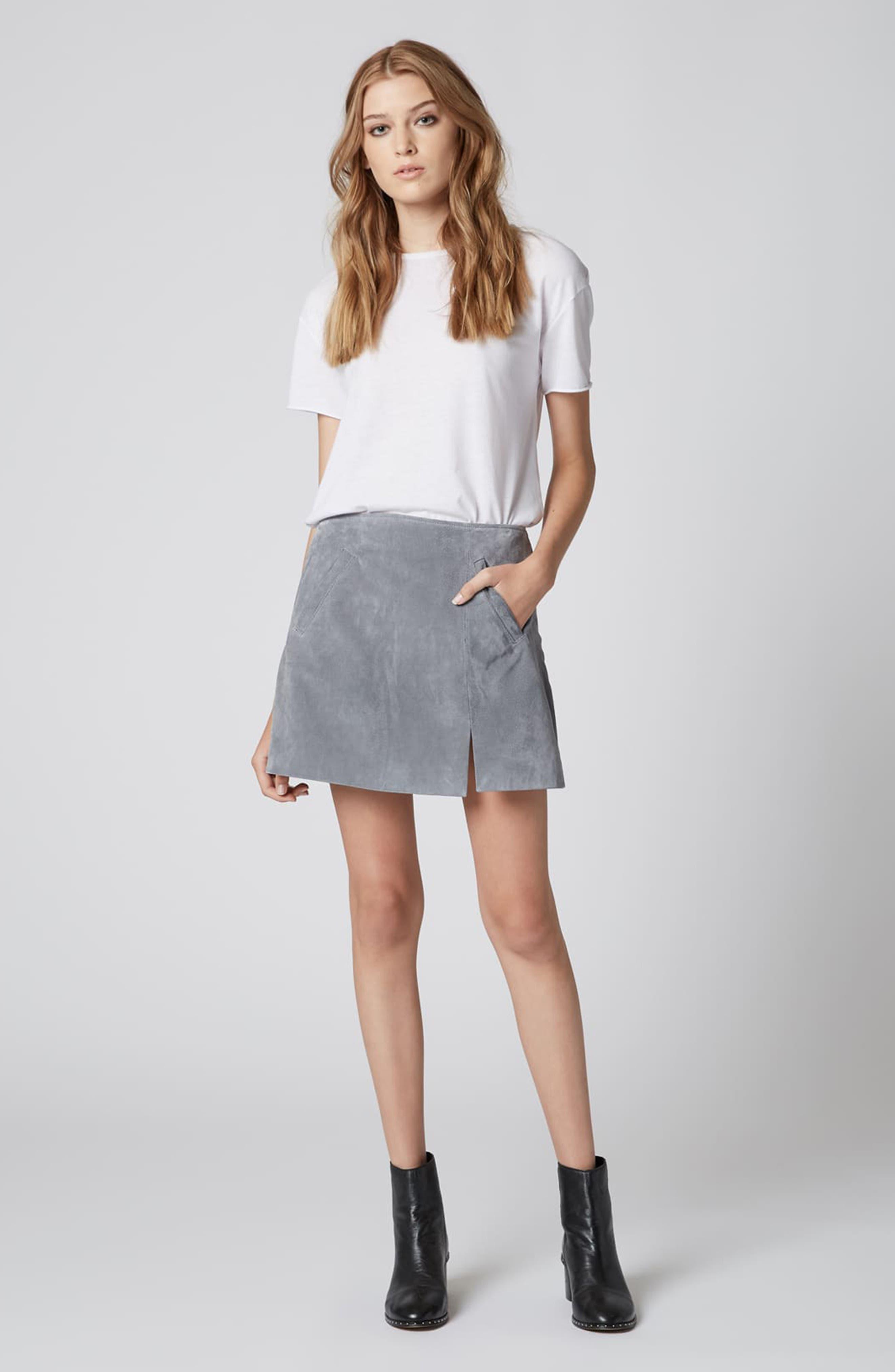 Suede Miniskirt,                             Alternate thumbnail 4, color,                             LONDON FOG