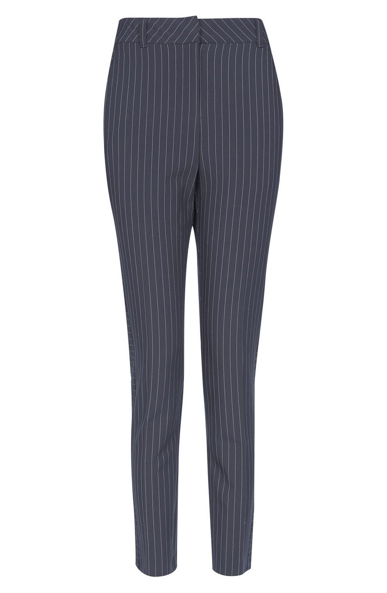 Cut About Pinstripe Cigarette Trousers,                             Alternate thumbnail 4, color,                             410