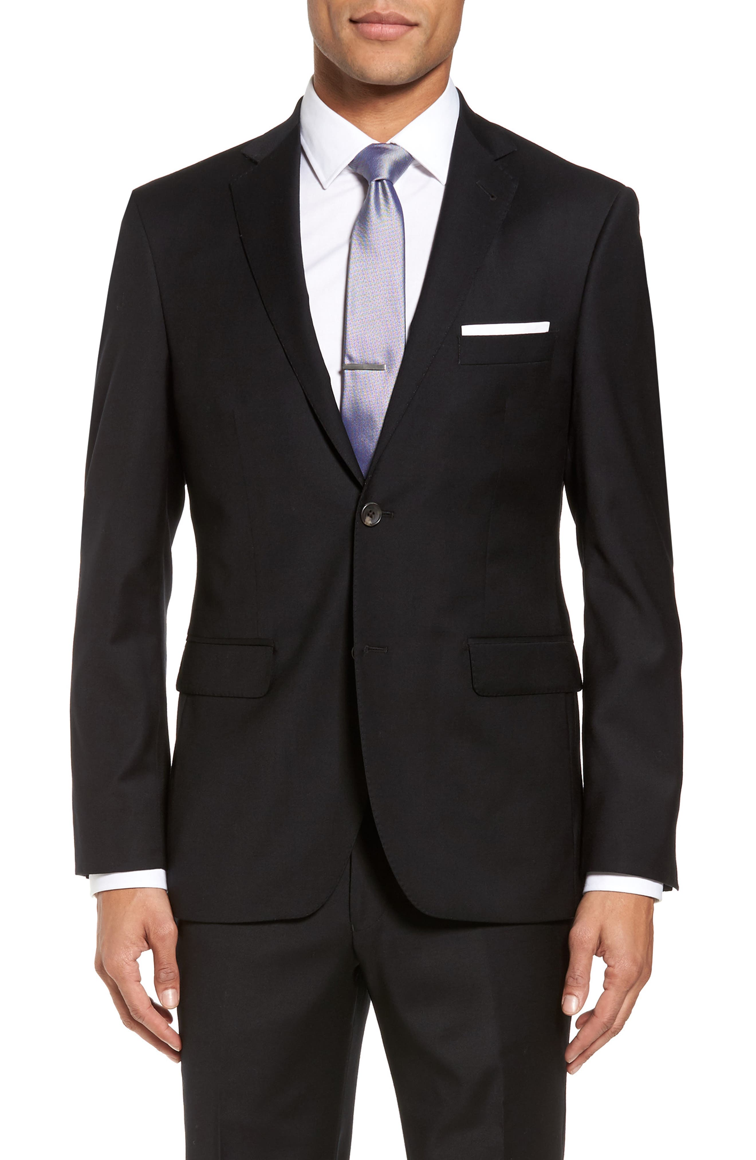 Trim Fit Stretch Solid Wool Blazer,                         Main,                         color, 001