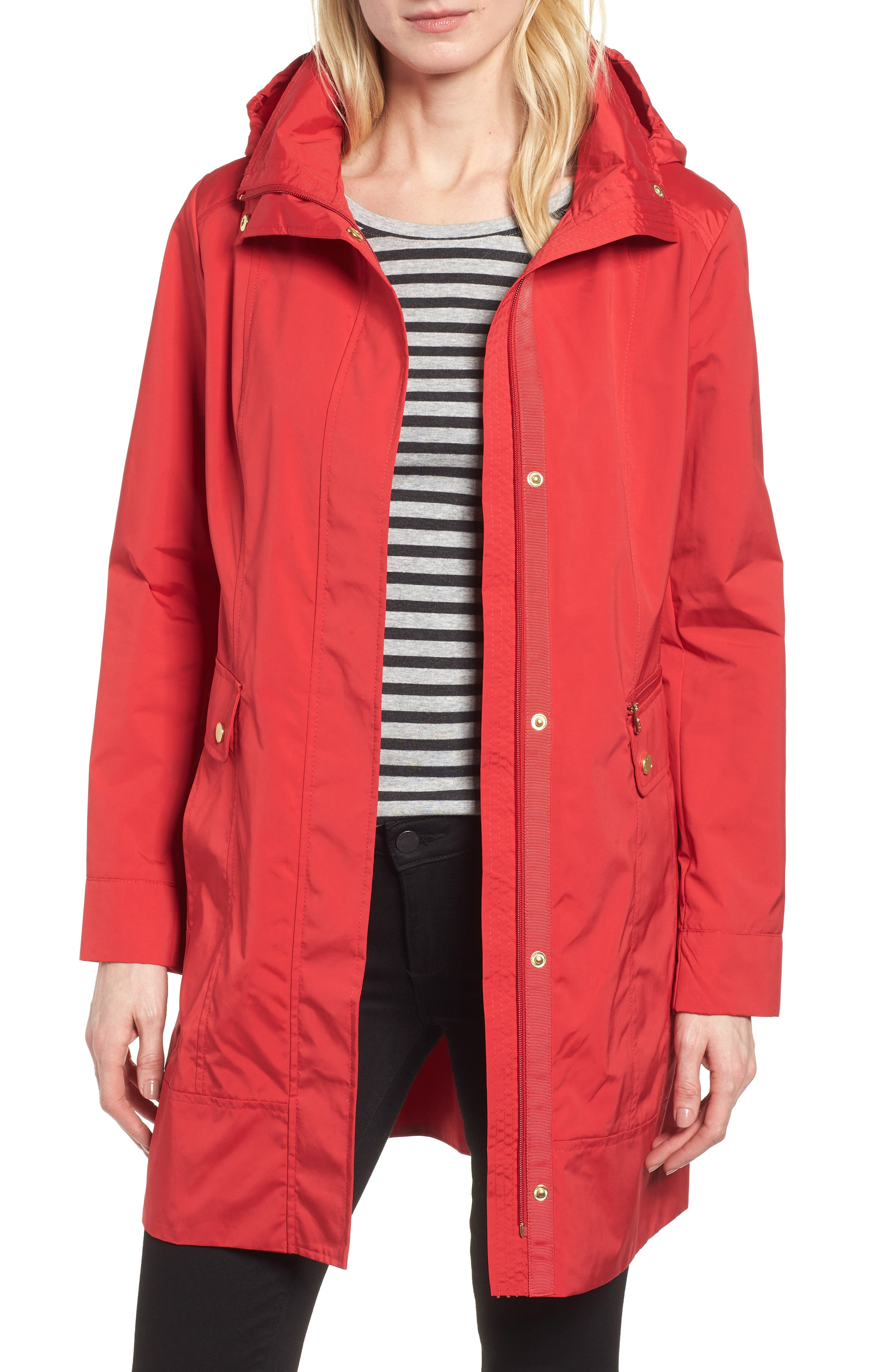 Petite Cole Haan Signature Back Bow Packable Hooded Raincoat, Red