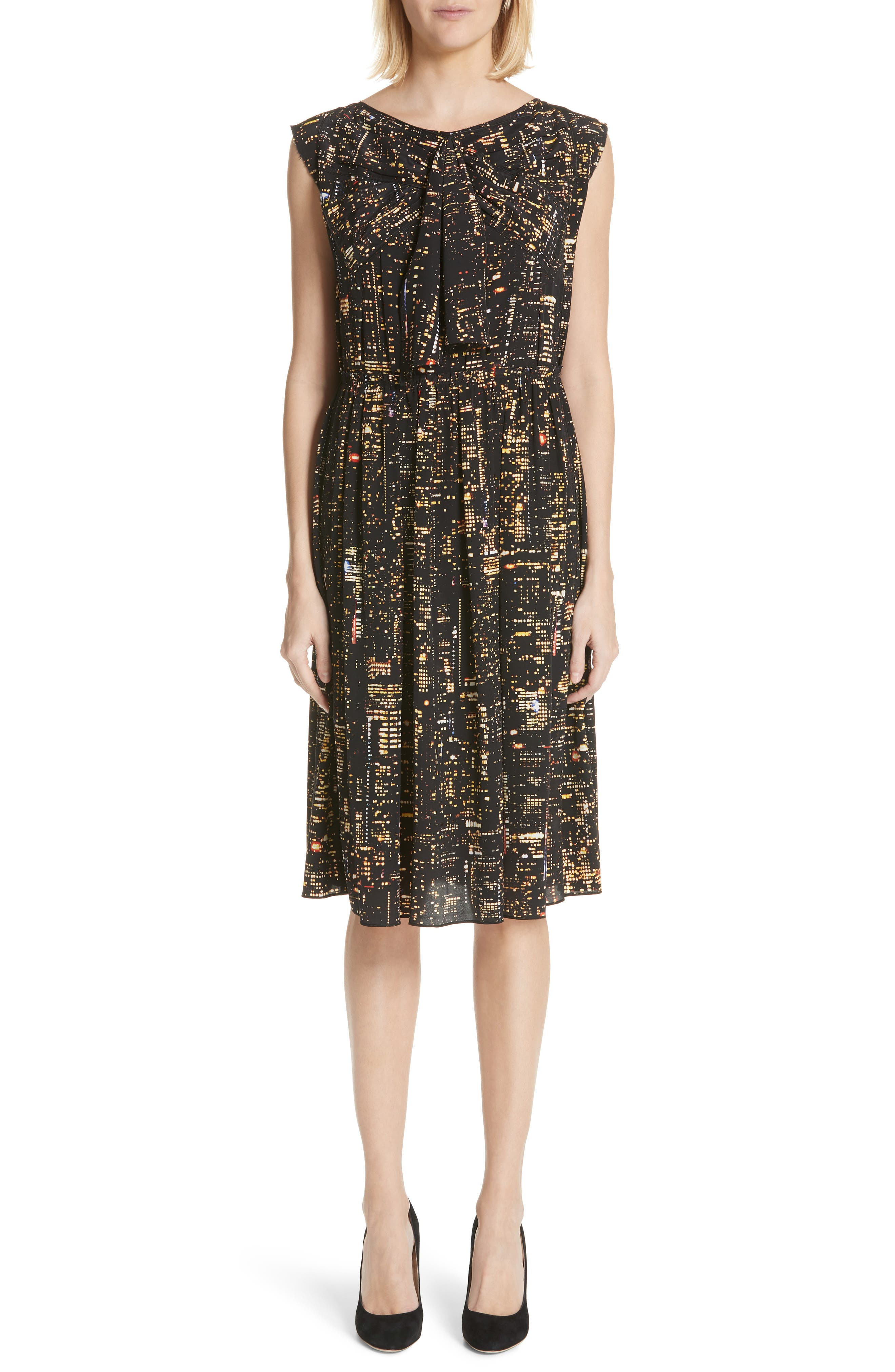 Marc Jacobs City Print Silk Dress, Yellow