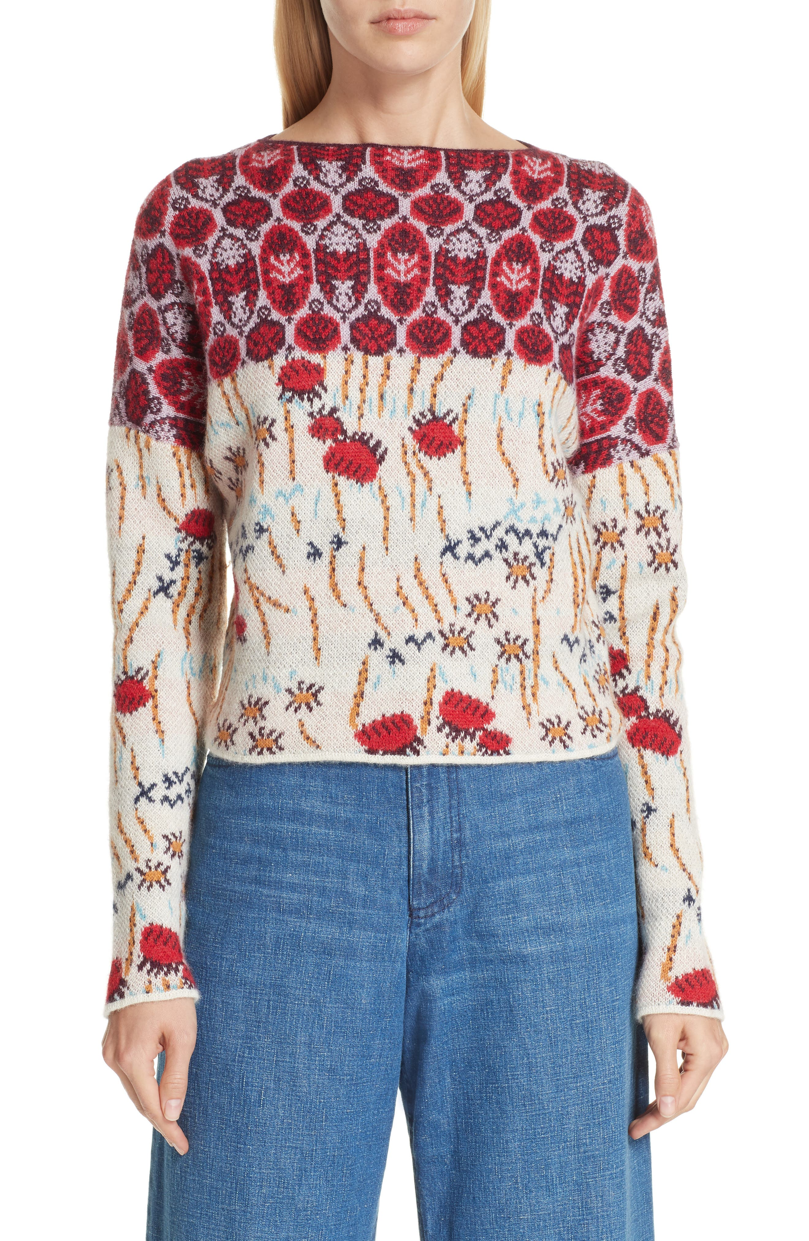 Adieu Jacquard Alpaca Sweater,                         Main,                         color, WHITE