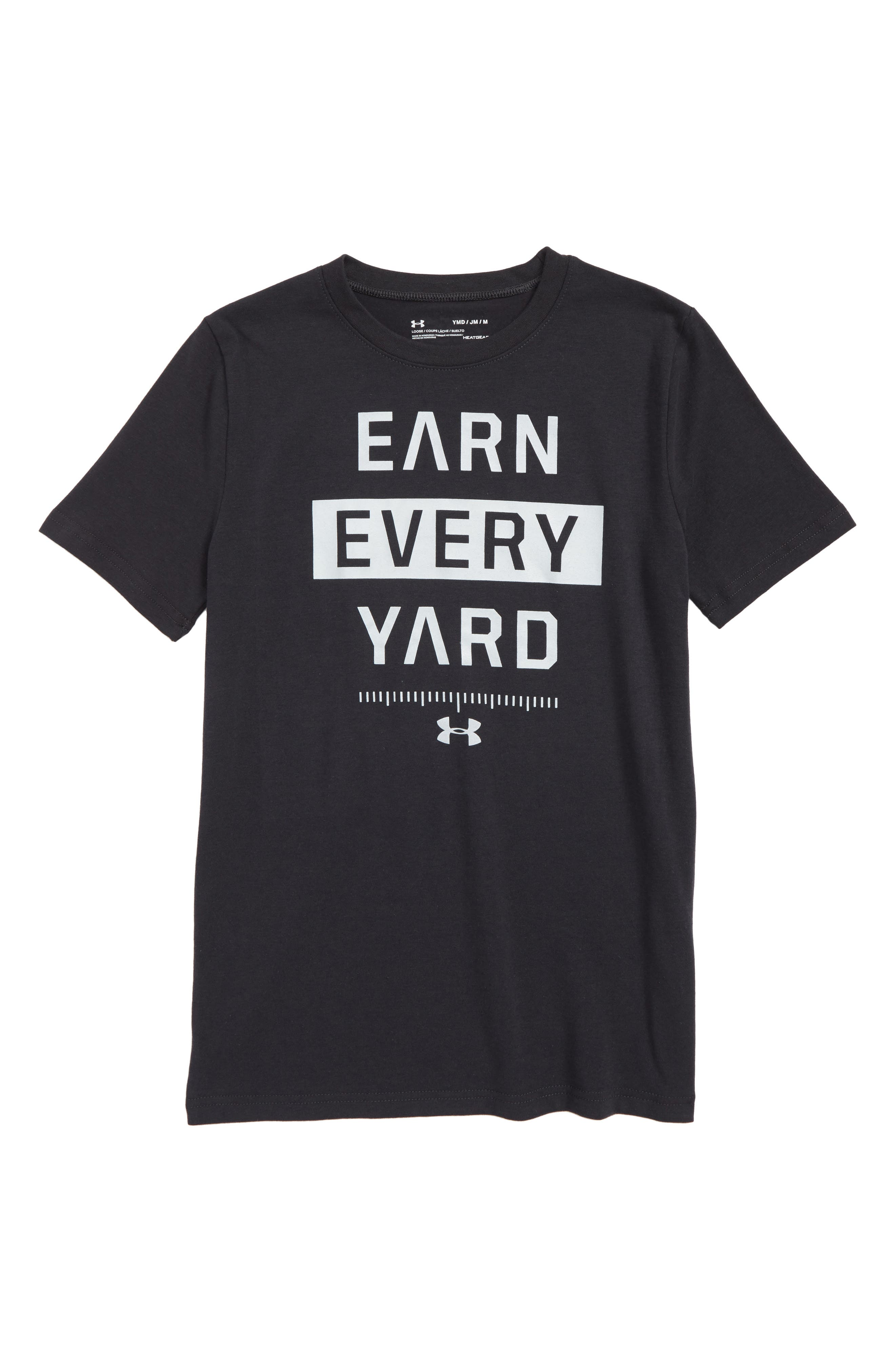 Earn Every Yard HeatGear<sup>®</sup> Graphic T-Shirt,                             Main thumbnail 1, color,                             001