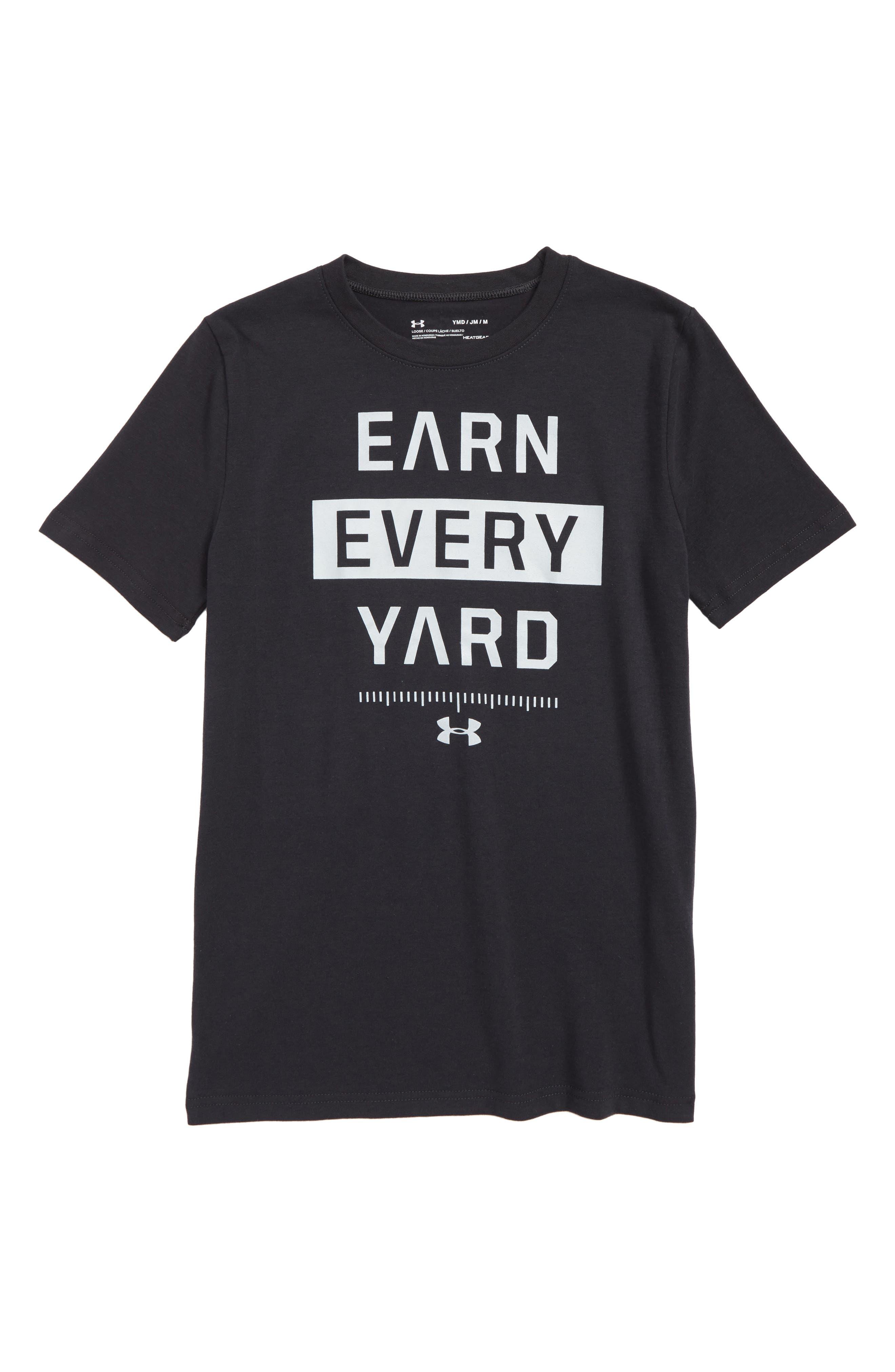 Earn Every Yard HeatGear<sup>®</sup> Graphic T-Shirt,                         Main,                         color, 001