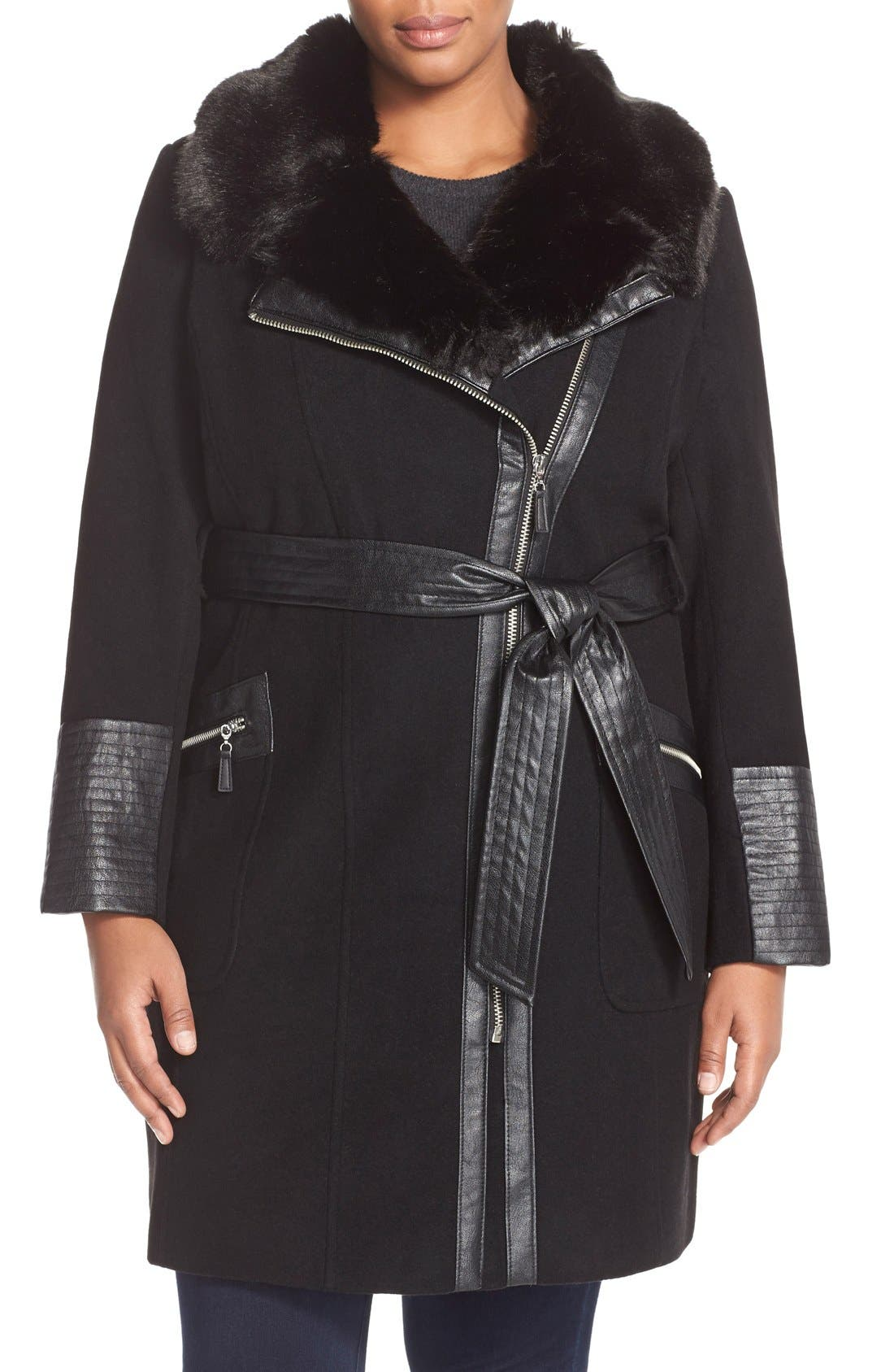Asymmetrical Wool Blend Coat with Faux Fur Collar, Main, color, 001