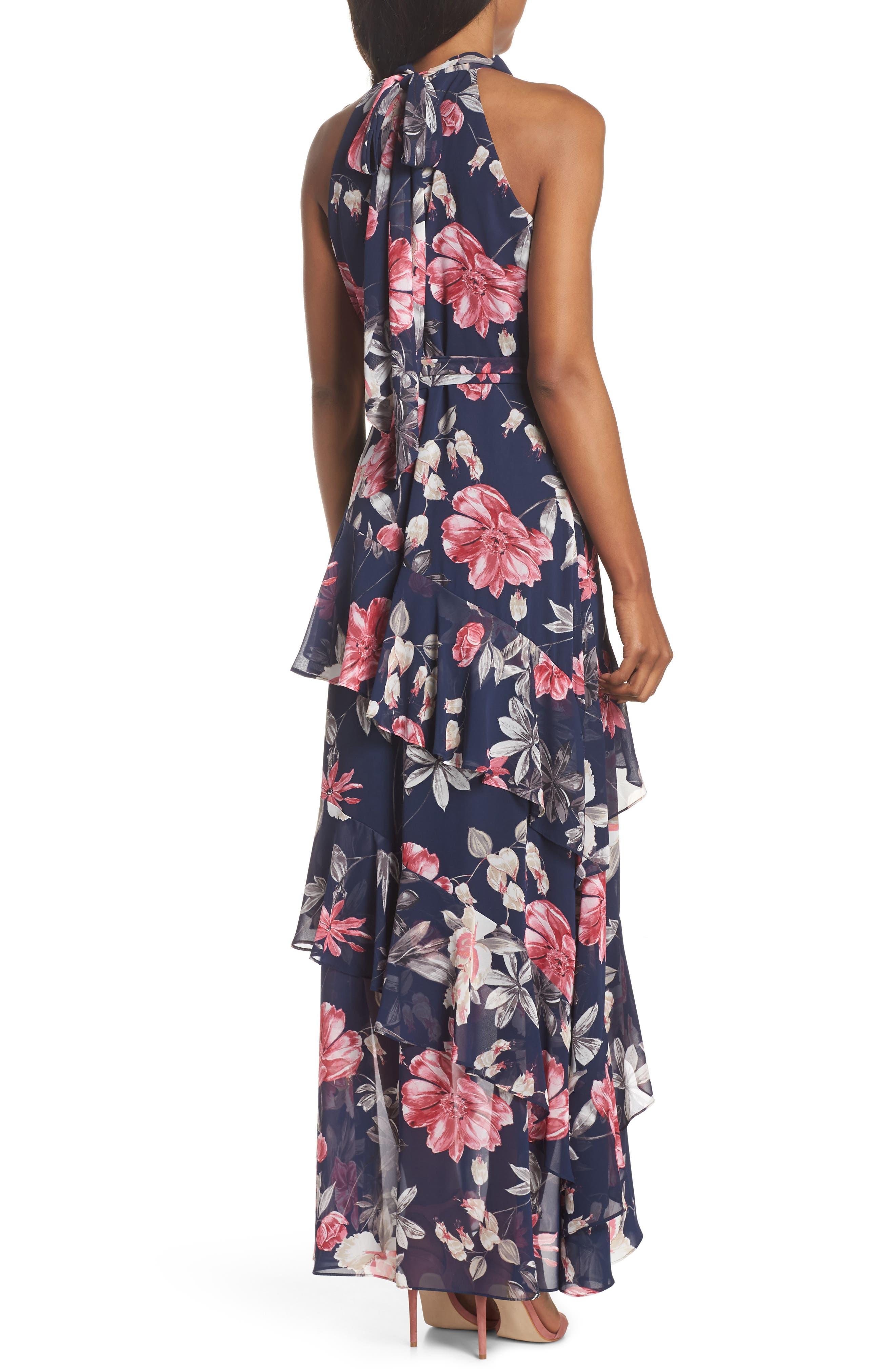 Halter Neck Ruffle Chiffon Maxi Dress,                             Alternate thumbnail 2, color,                             410