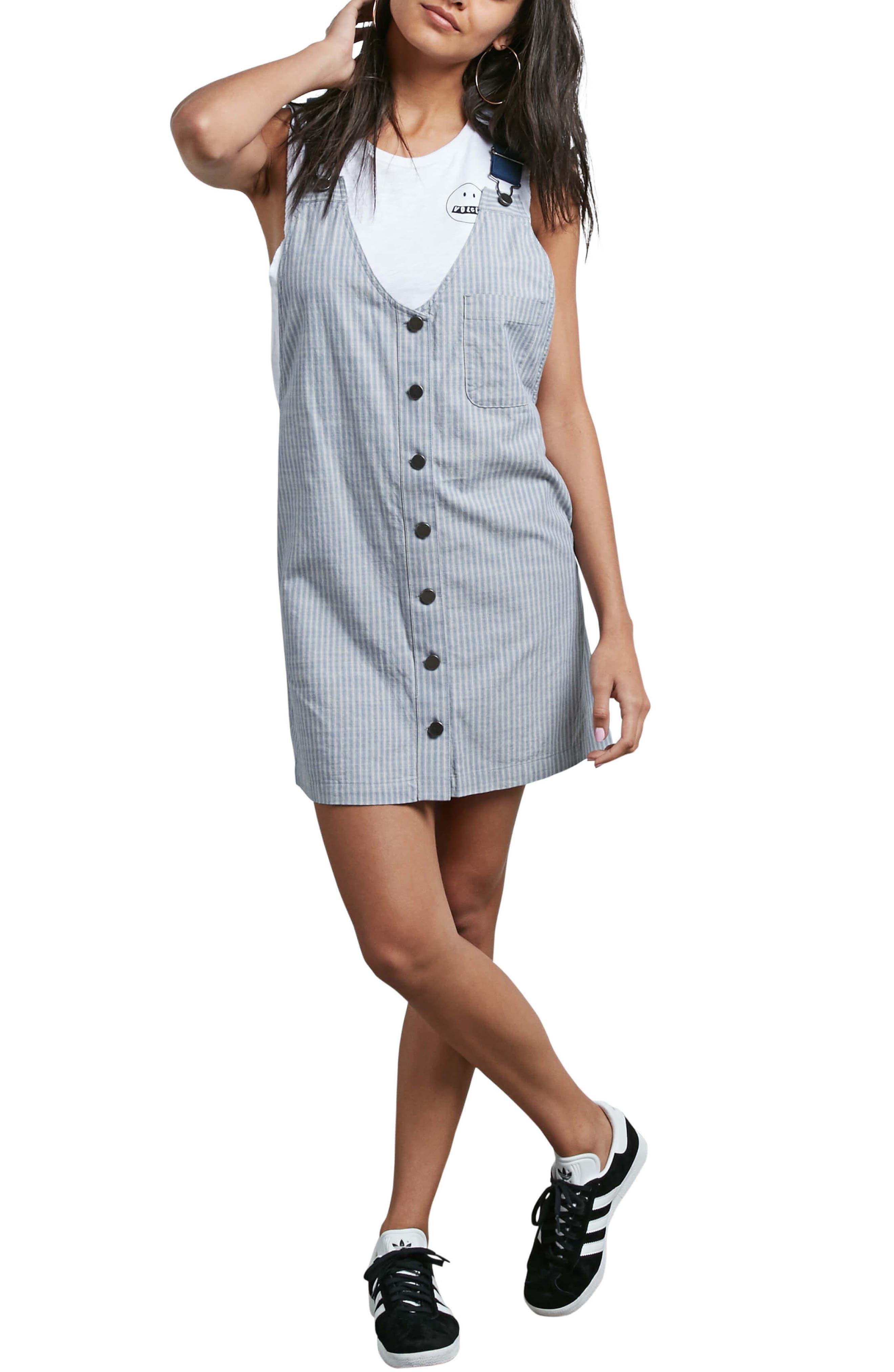 Stripe Chambray Pinafore Dress,                             Main thumbnail 1, color,                             400