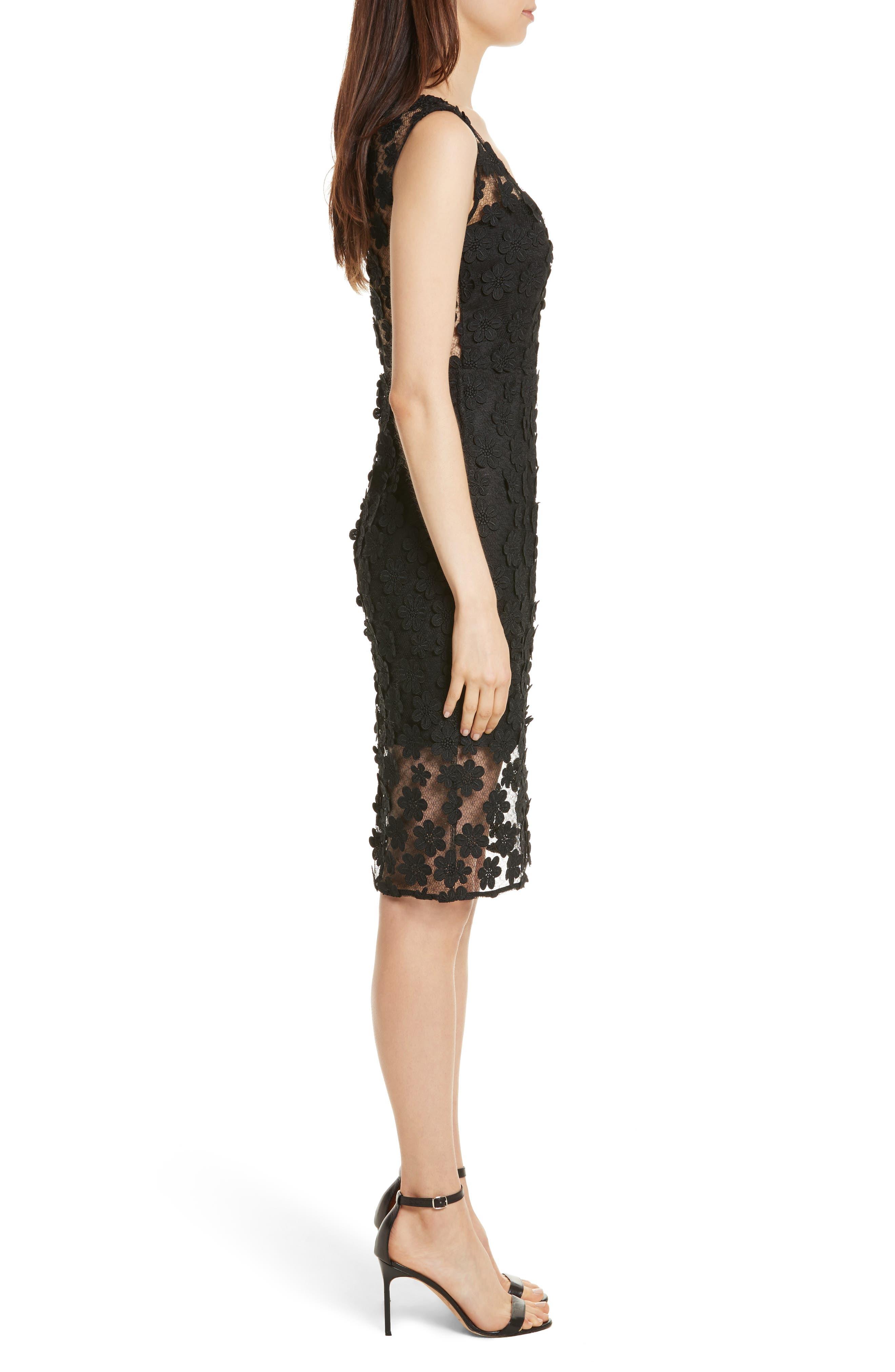 Mari Floral Appliqué Sheath Dress,                             Alternate thumbnail 3, color,                             001