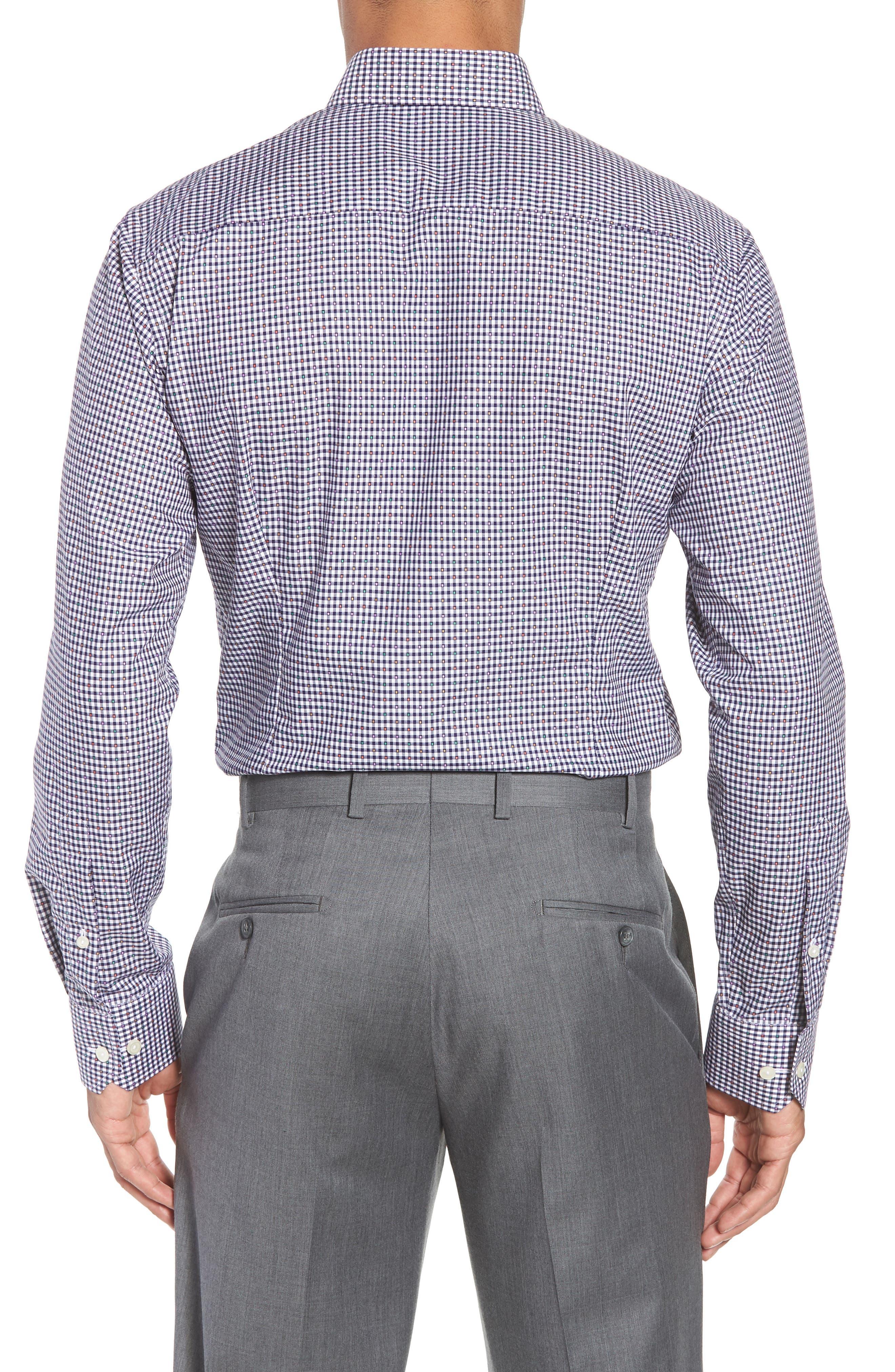 Slim Fit Check Dress Shirt,                             Alternate thumbnail 3, color,                             BLUE