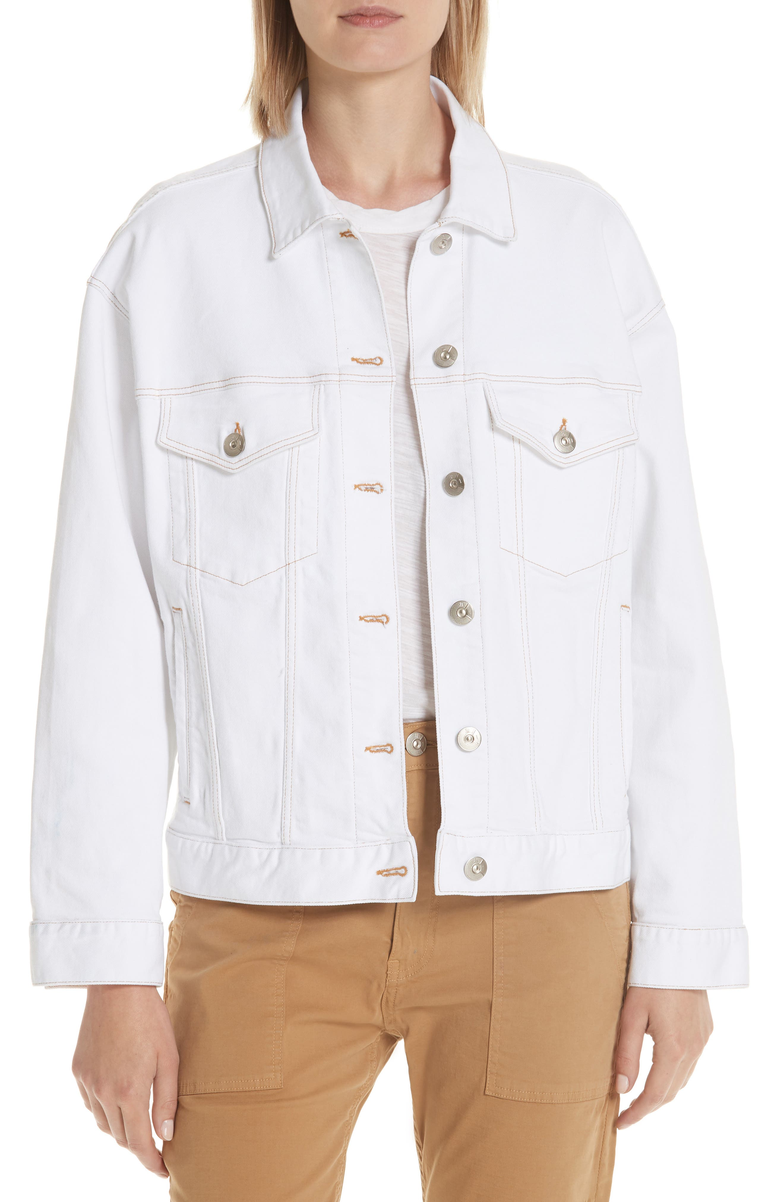 3X1 NYC Oversize Denim Trucker Jacket, Main, color, WINTER WHITE