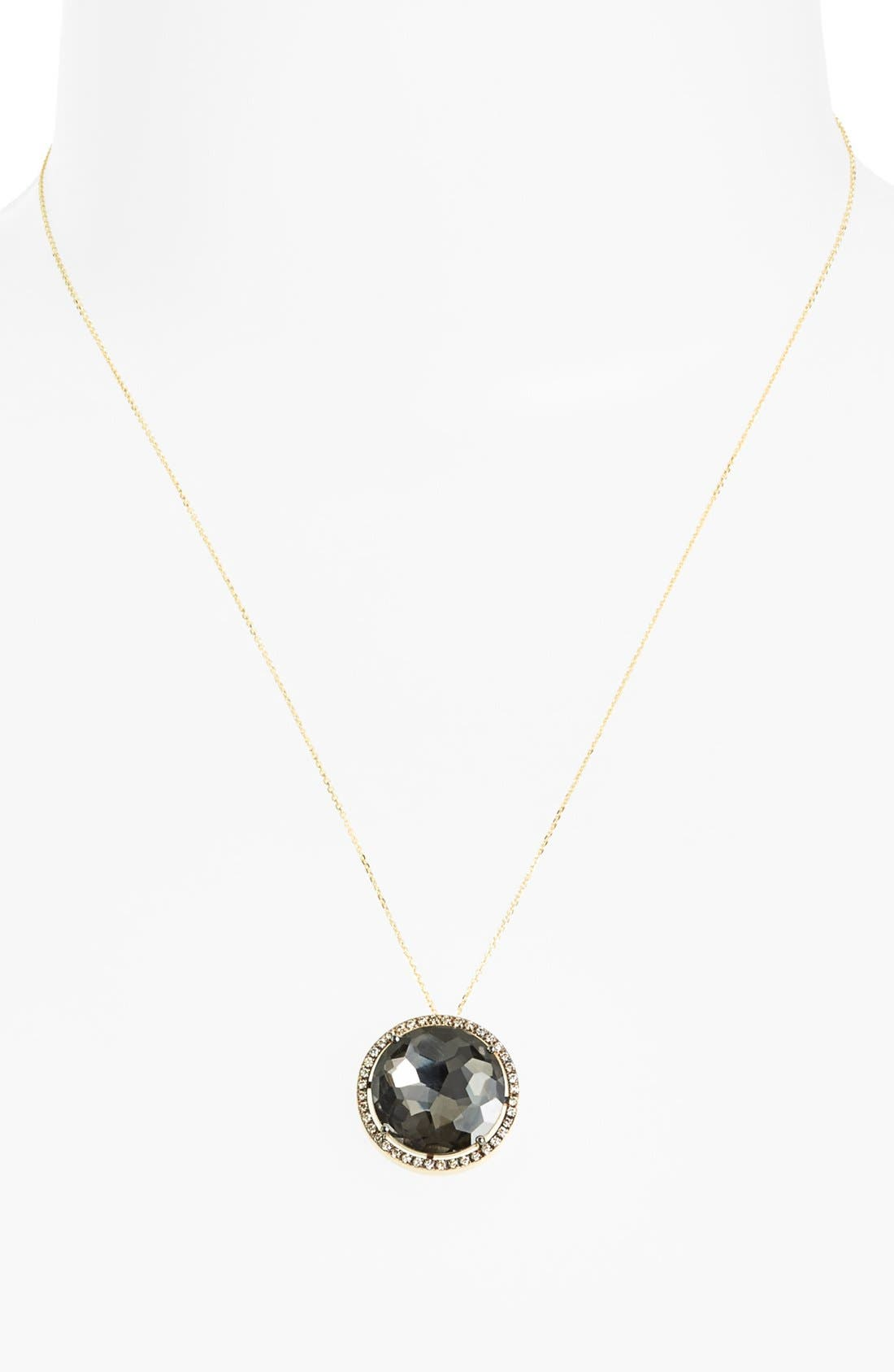 KALAN by Suzanne Kalan Diamond & Stone Pendant Necklace,                             Alternate thumbnail 2, color,                             YELLOW GOLD/ BLACK QUARTZ