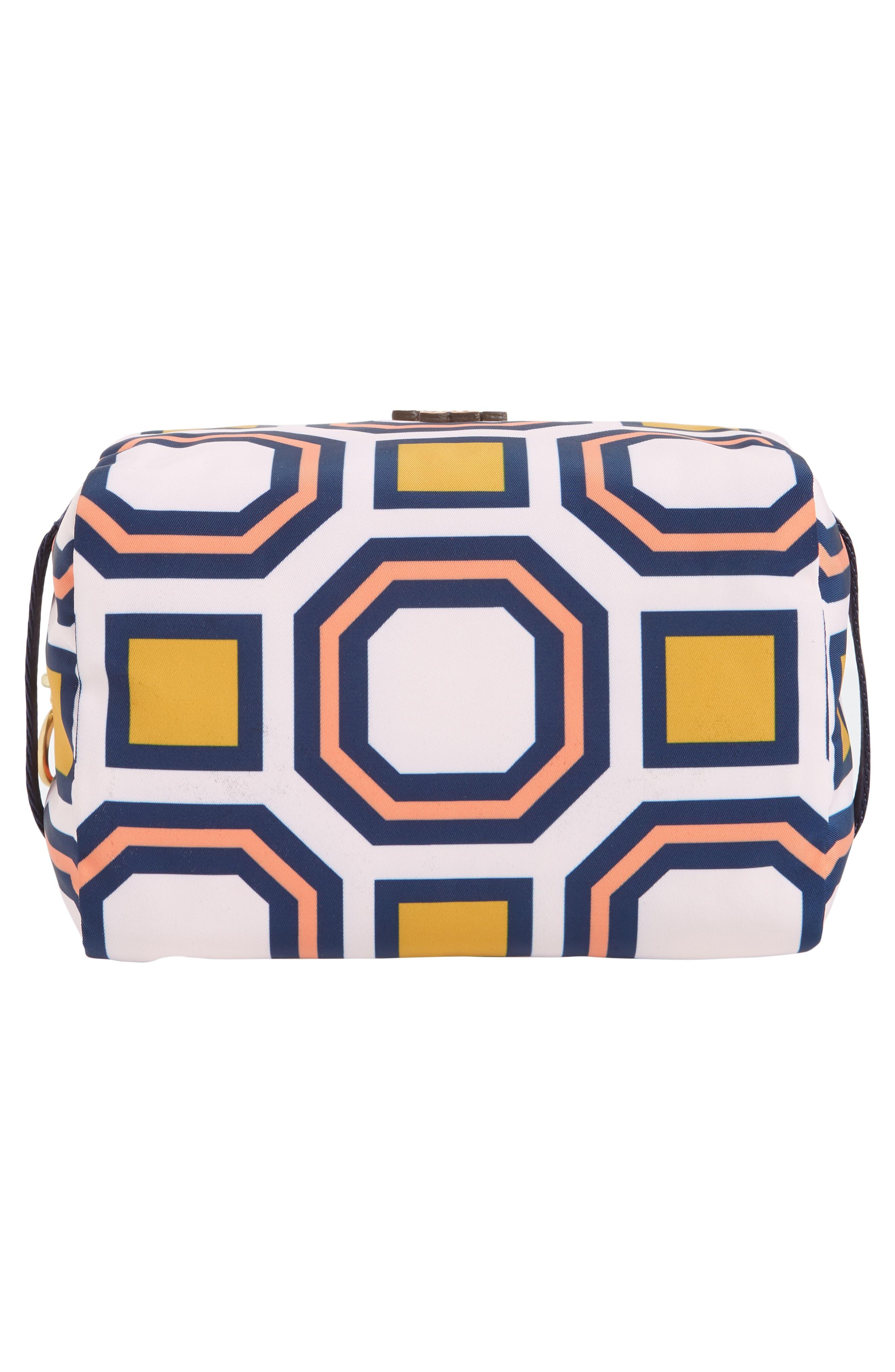 Octagon Print Medium Cosmetics Bag,                             Alternate thumbnail 5, color,