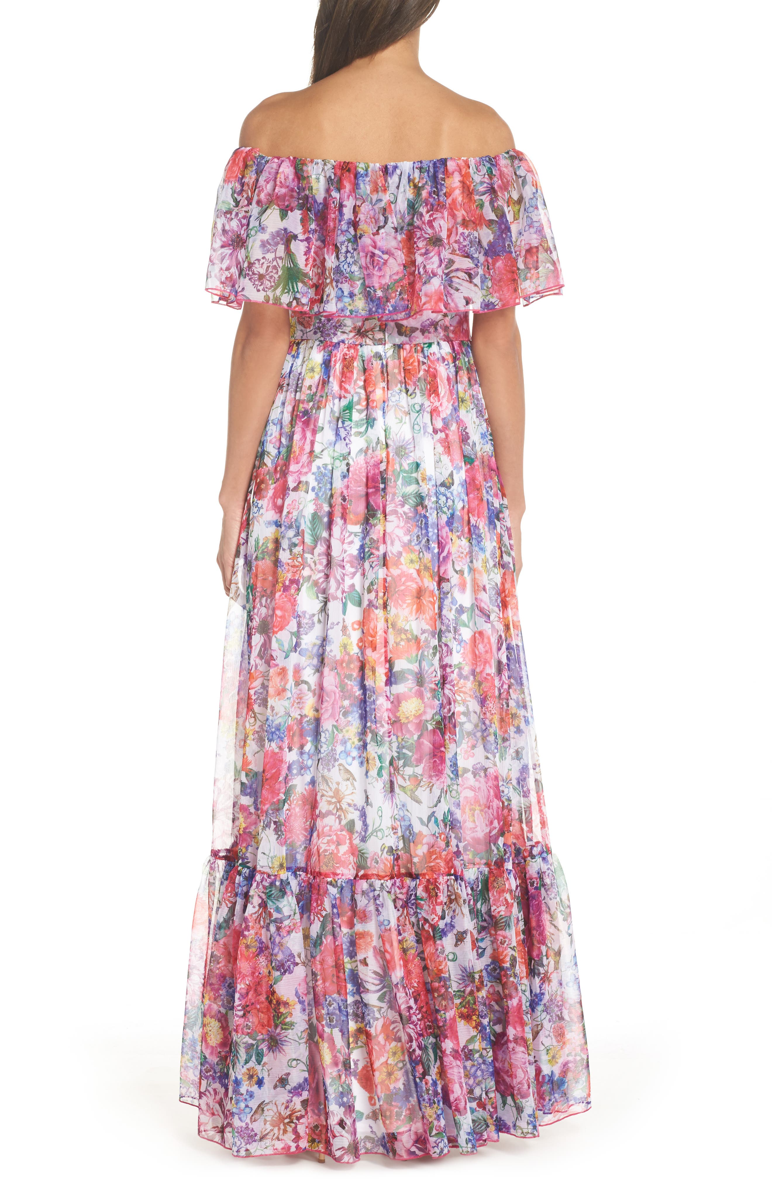 Paola Floral Off the Shoulder Gown,                             Alternate thumbnail 2, color,                             650