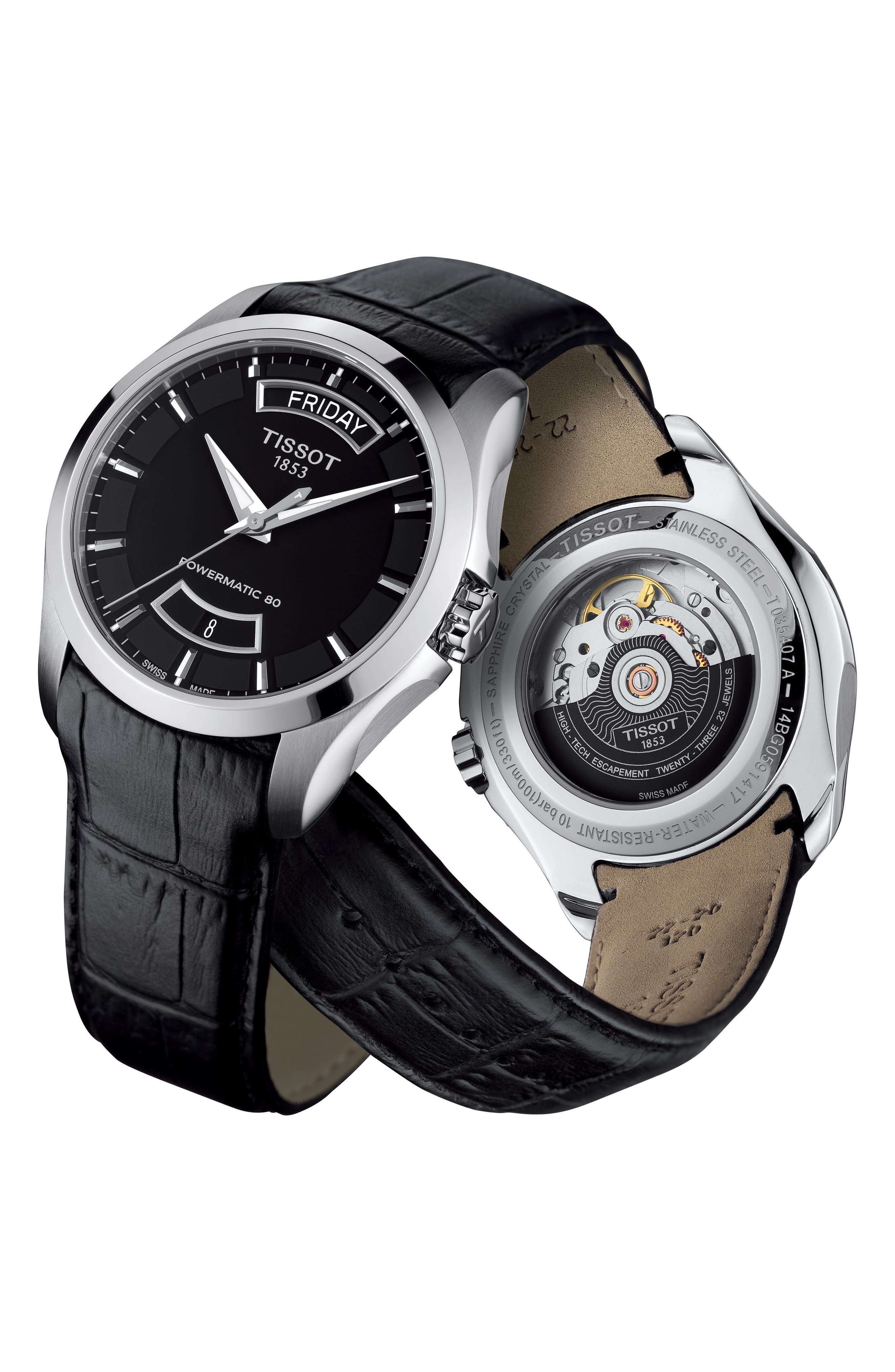Couturier Automatic Leather Strap Watch, 39mm,                             Alternate thumbnail 2, color,                             BLACK/ SILVER