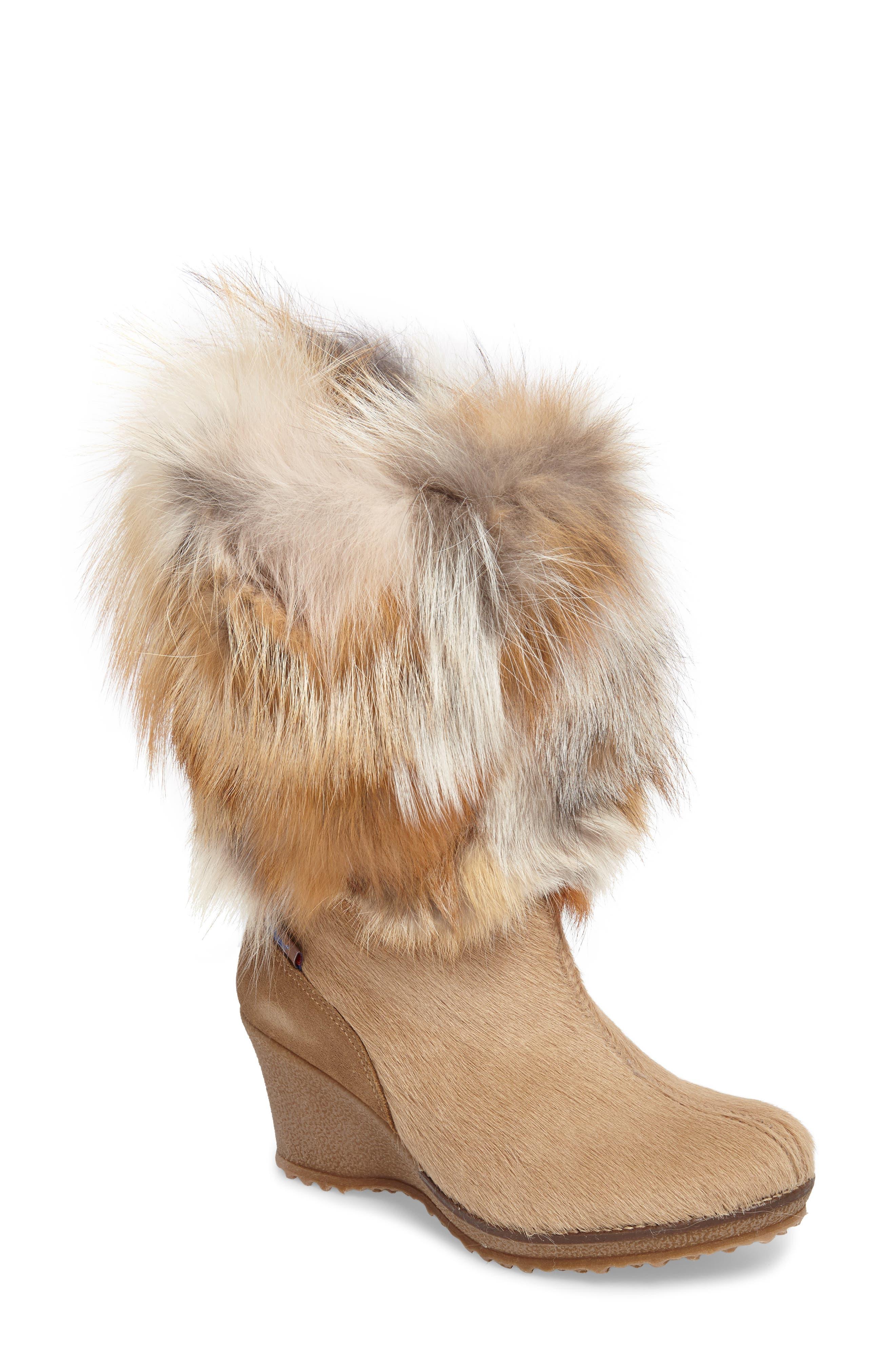 Angelina Genuine Fox Fur Wedge Boot,                             Main thumbnail 4, color,