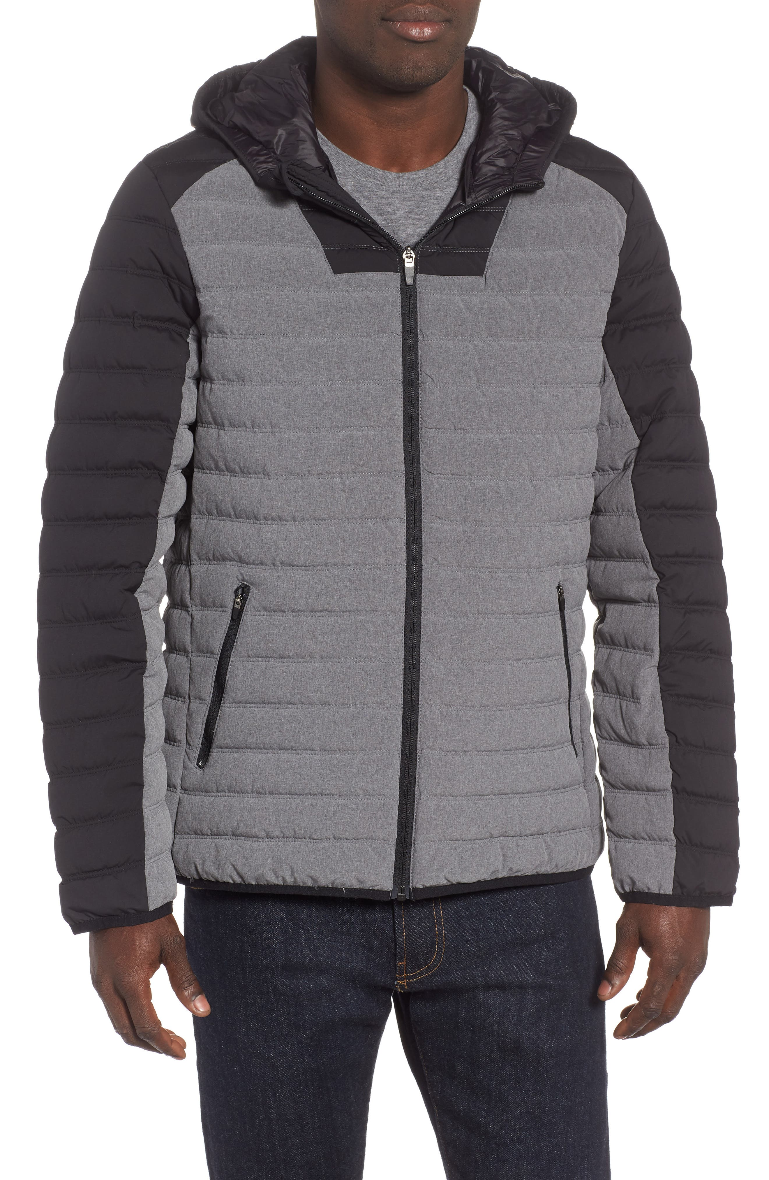 Hooded Water Resistant Down Jacket,                             Main thumbnail 1, color,                             BLACK GREY OBSIDIAN
