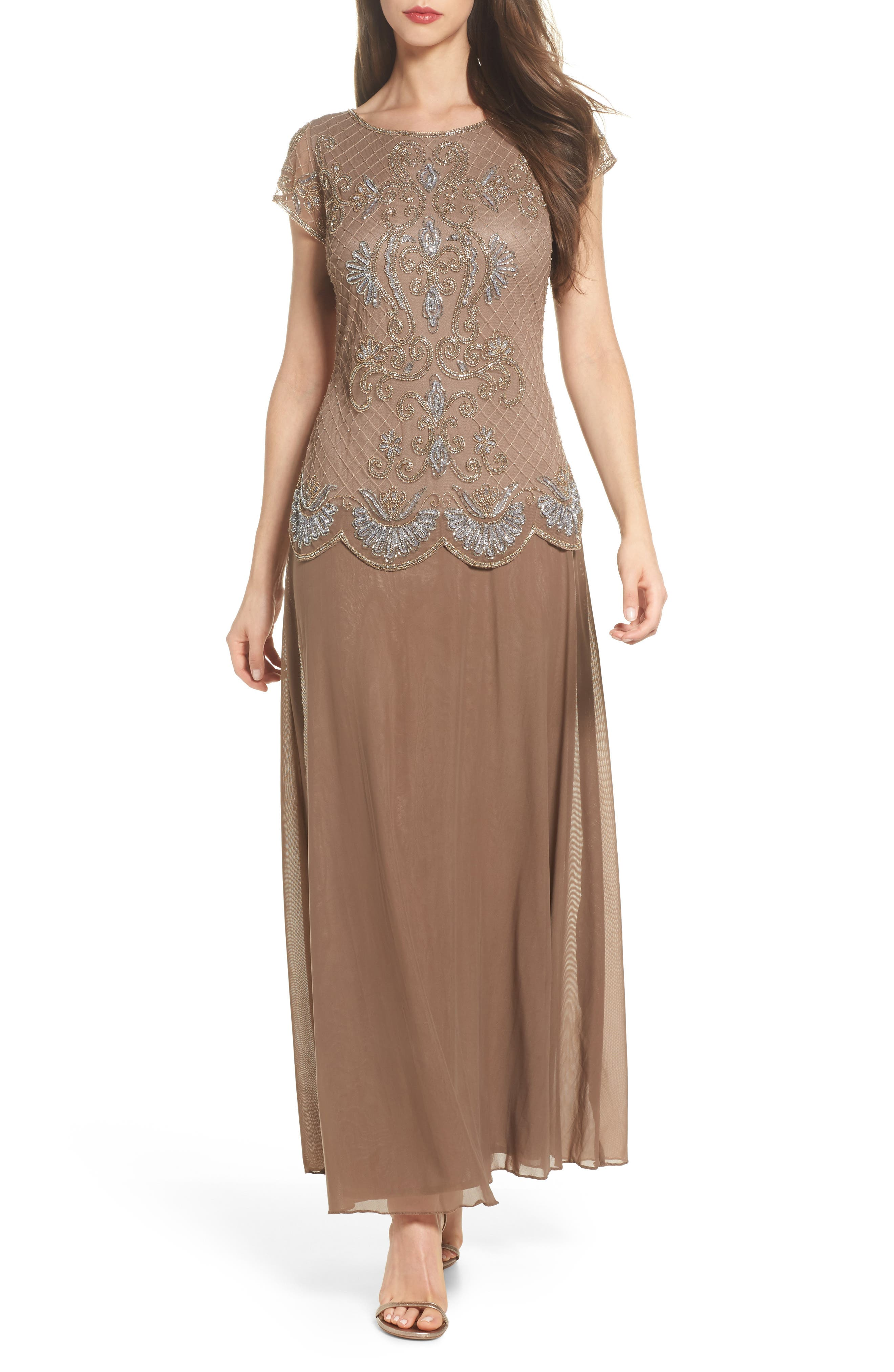 Embellished Mock Two-Piece Gown,                         Main,                         color, 230