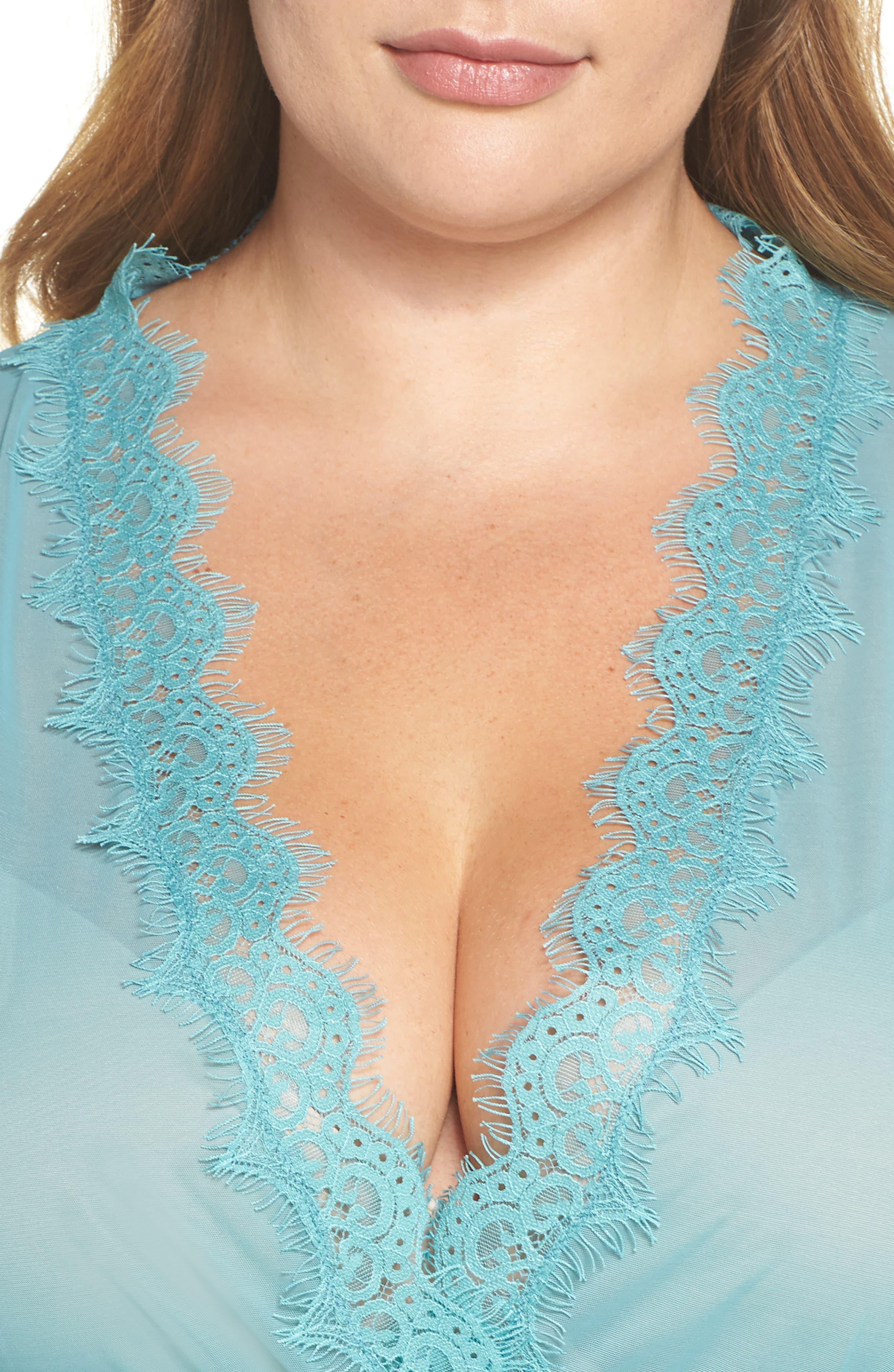 Eyelash Lace Robe & G-String,                             Alternate thumbnail 18, color,