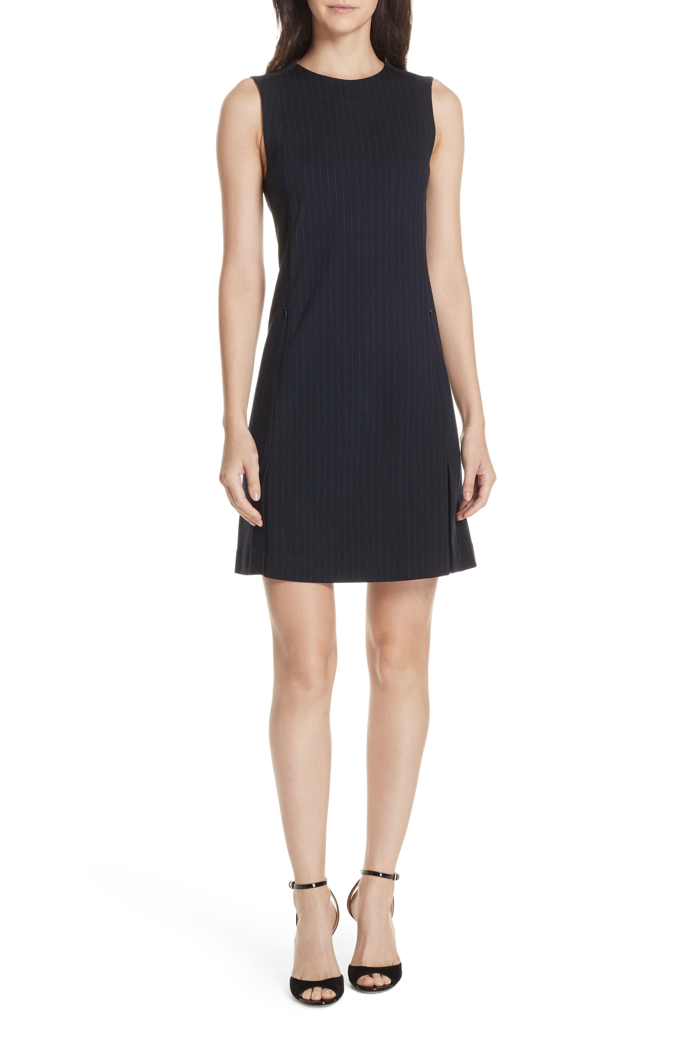 Pinstripe A-Line Dress,                             Main thumbnail 1, color,                             DEEP NAVY