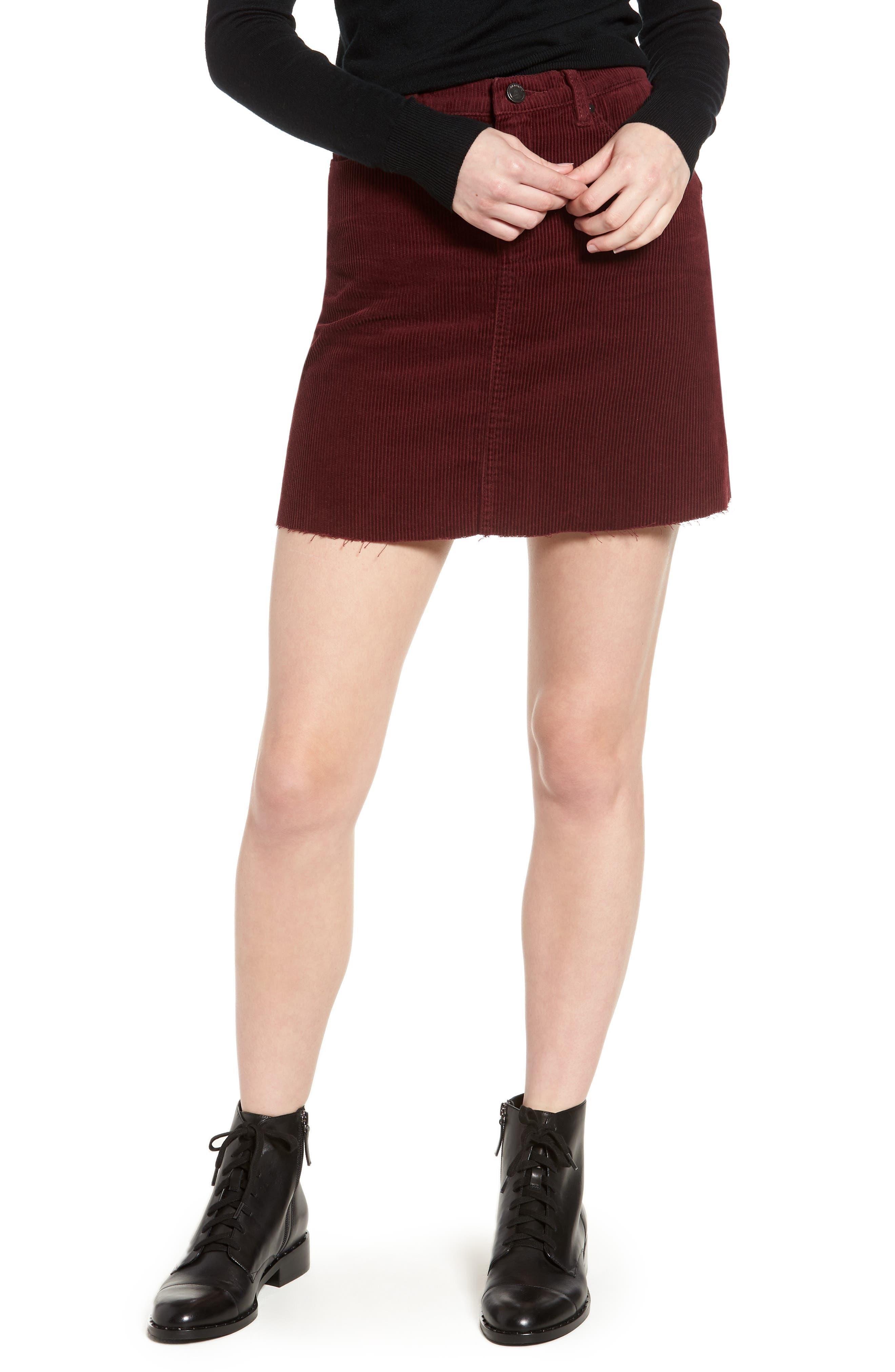 Corduroy A-Line Miniskirt,                             Main thumbnail 1, color,                             MERLOT
