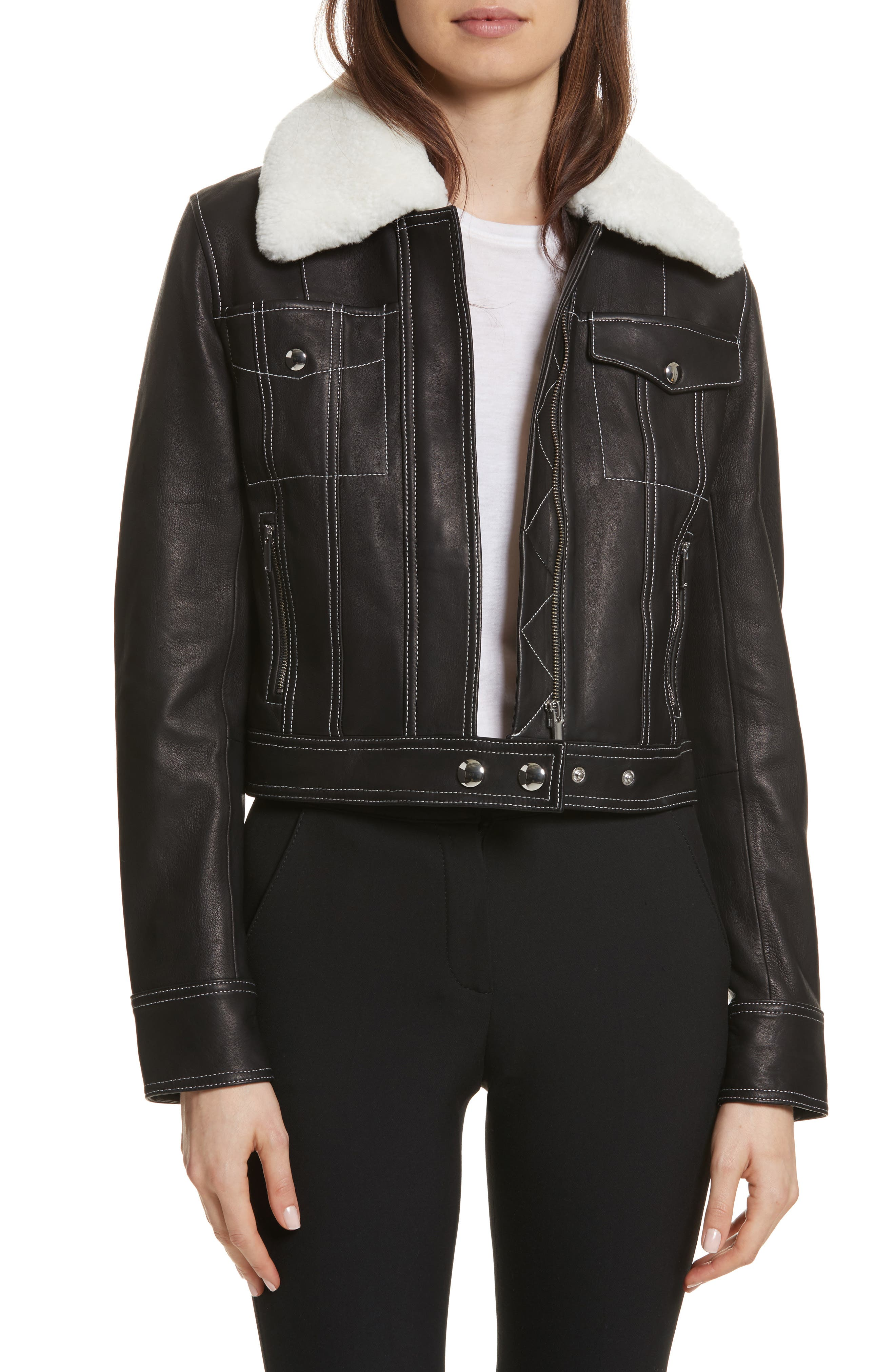 GREY Jason Wu Shrunken Leather Jacket with Removable Genuine Shearling Collar, Main, color, 009