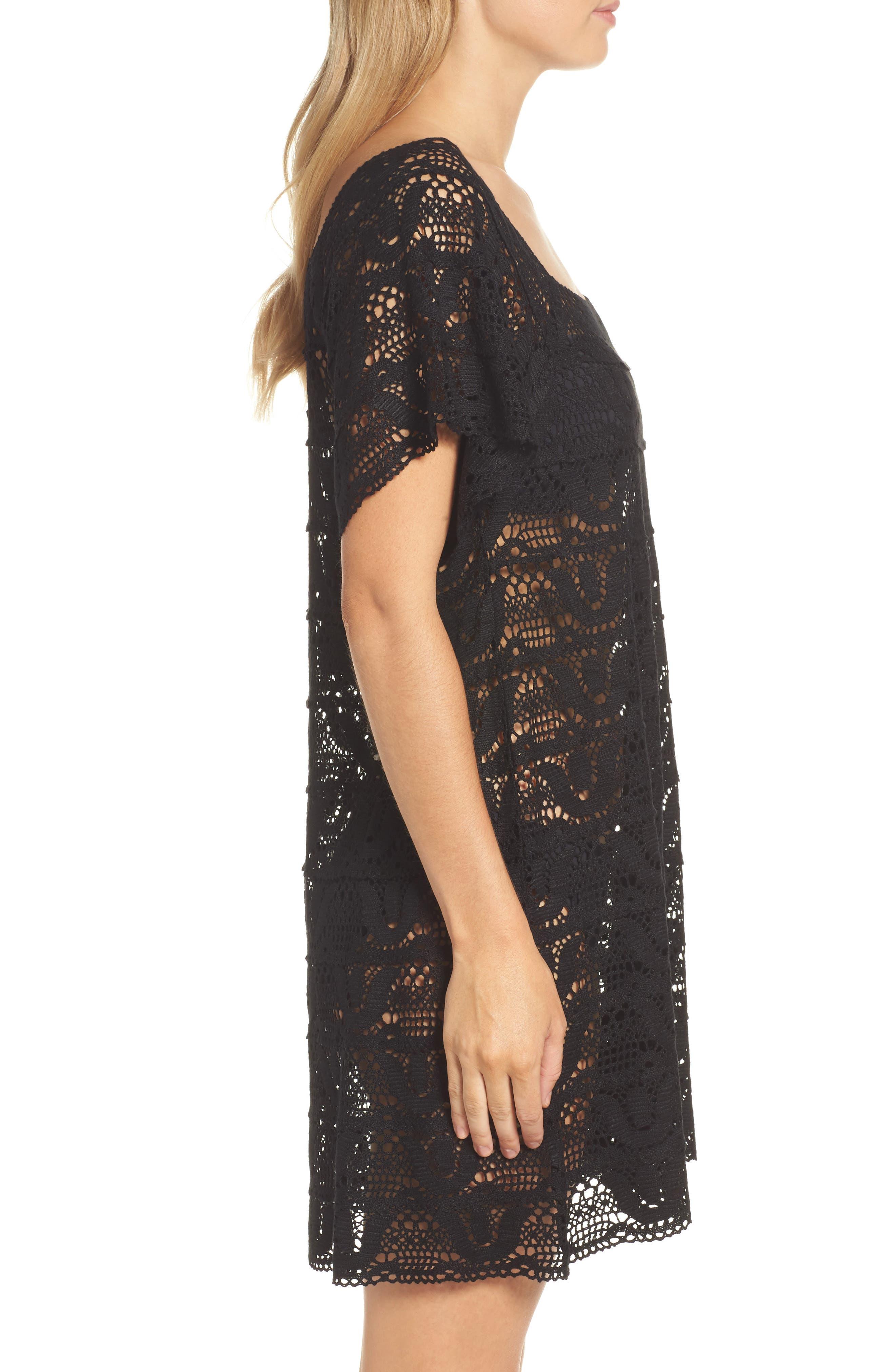 Nanette Lapore Crochet Cover-Up Dress,                             Alternate thumbnail 3, color,                             001
