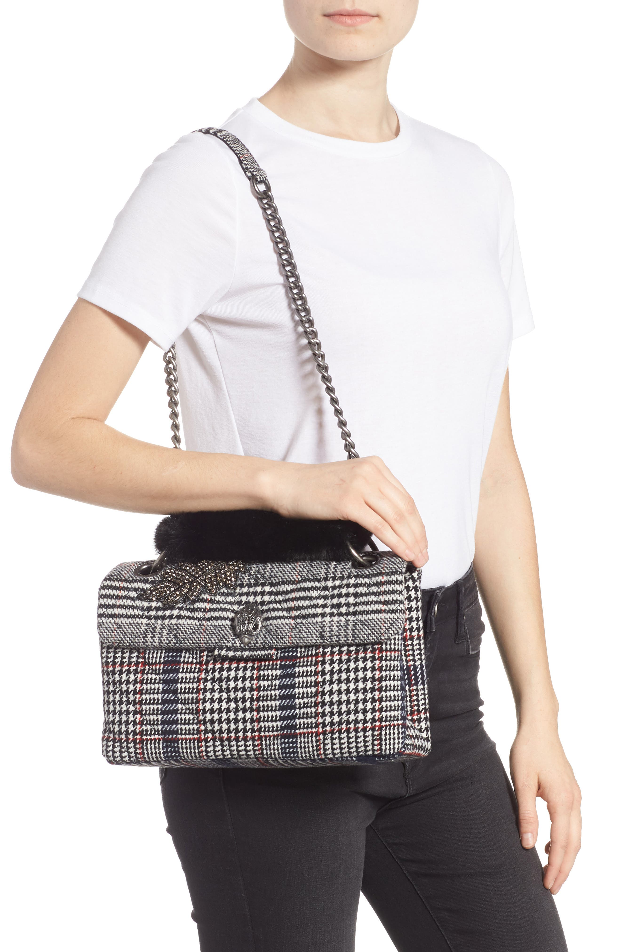 Kensington Plaid Shoulder Bag with Faux Fur,                             Alternate thumbnail 2, color,                             BLACK/ OTHER