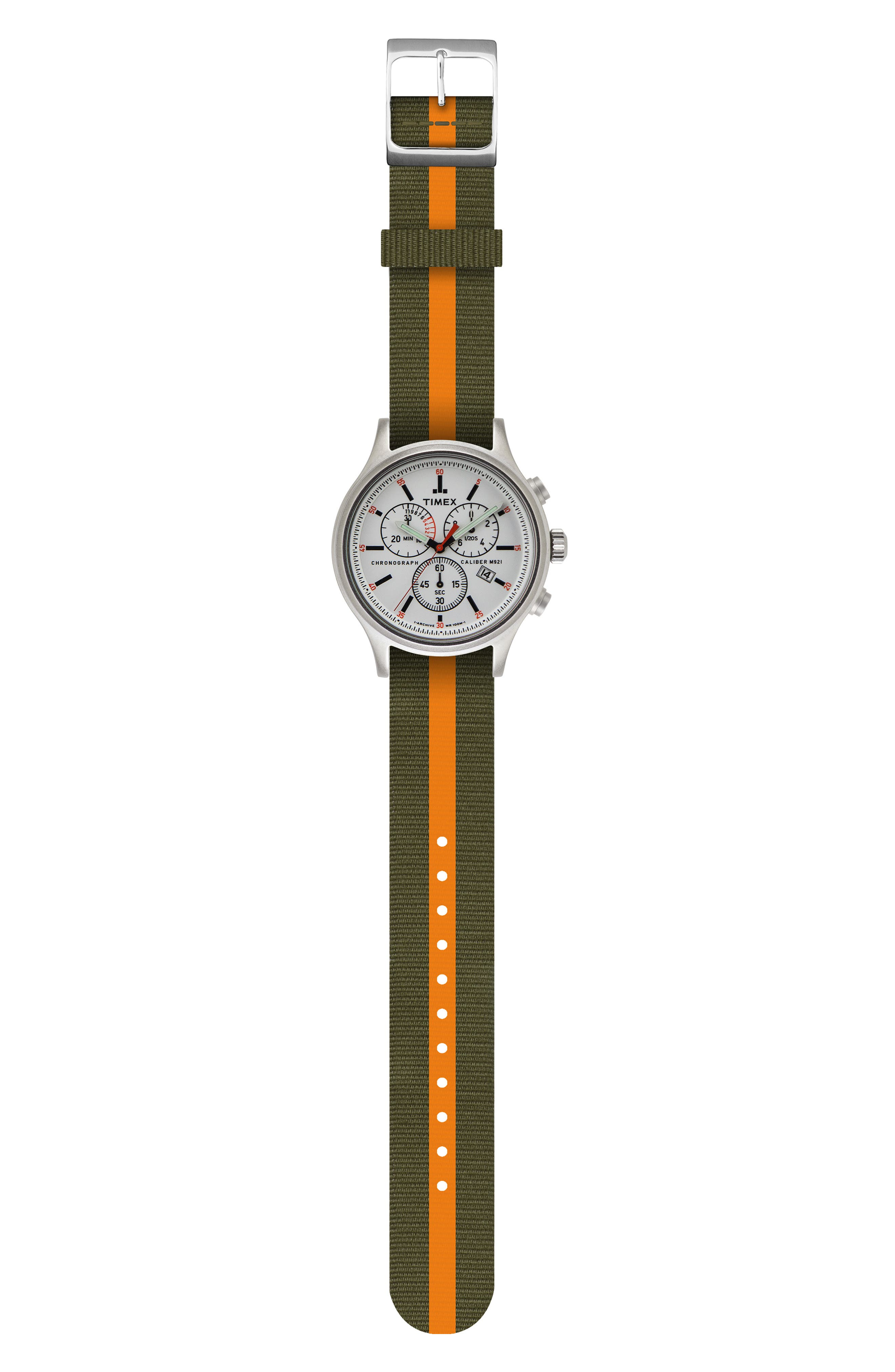 Allied Chronograph Reversible Strap Watch, 42mm,                             Alternate thumbnail 4, color,                             SILVER/ WHITE/ GREEN