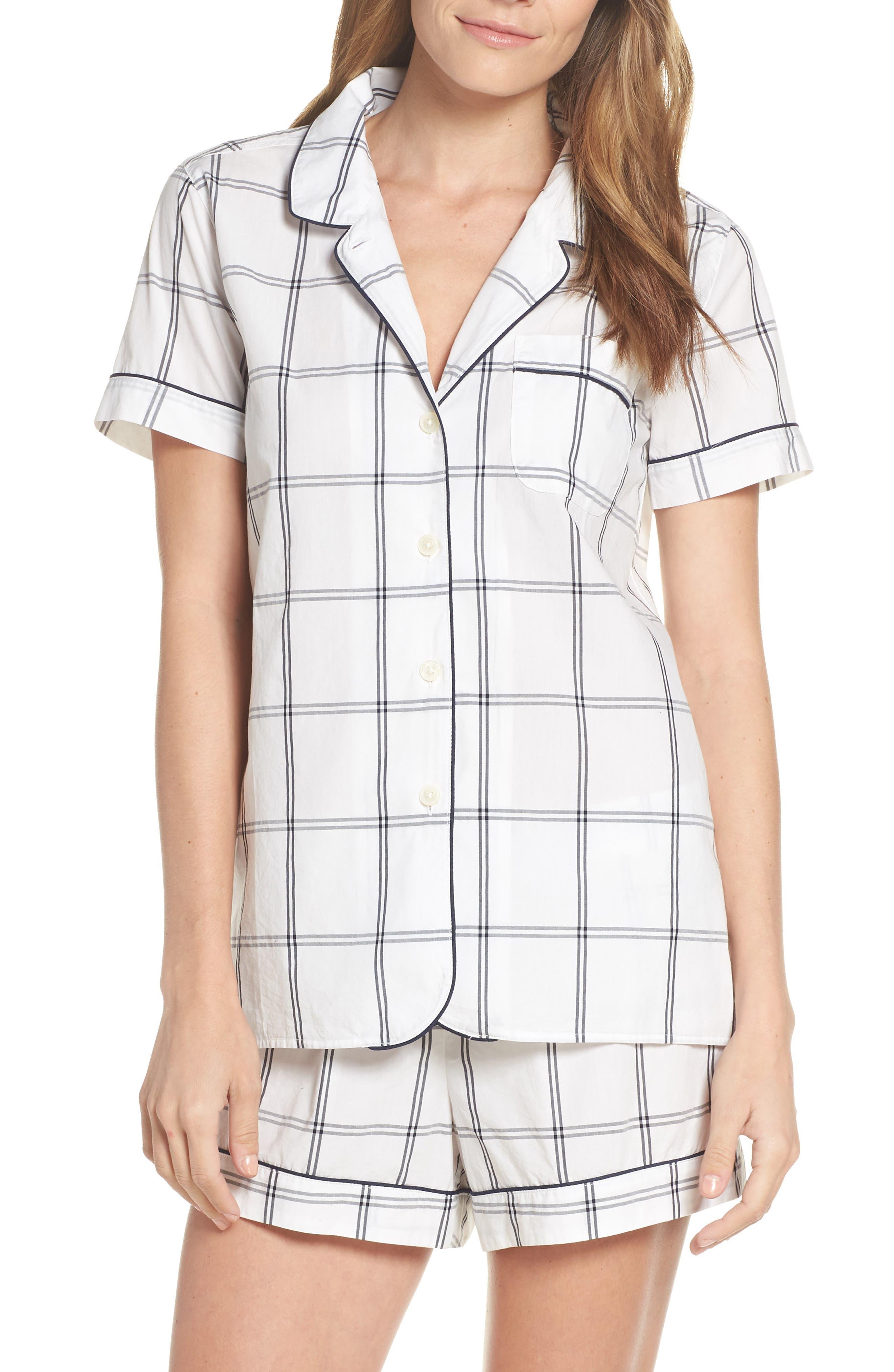 Windowpane Plaid Short Pajamas, Main, color, IVORY NAVY