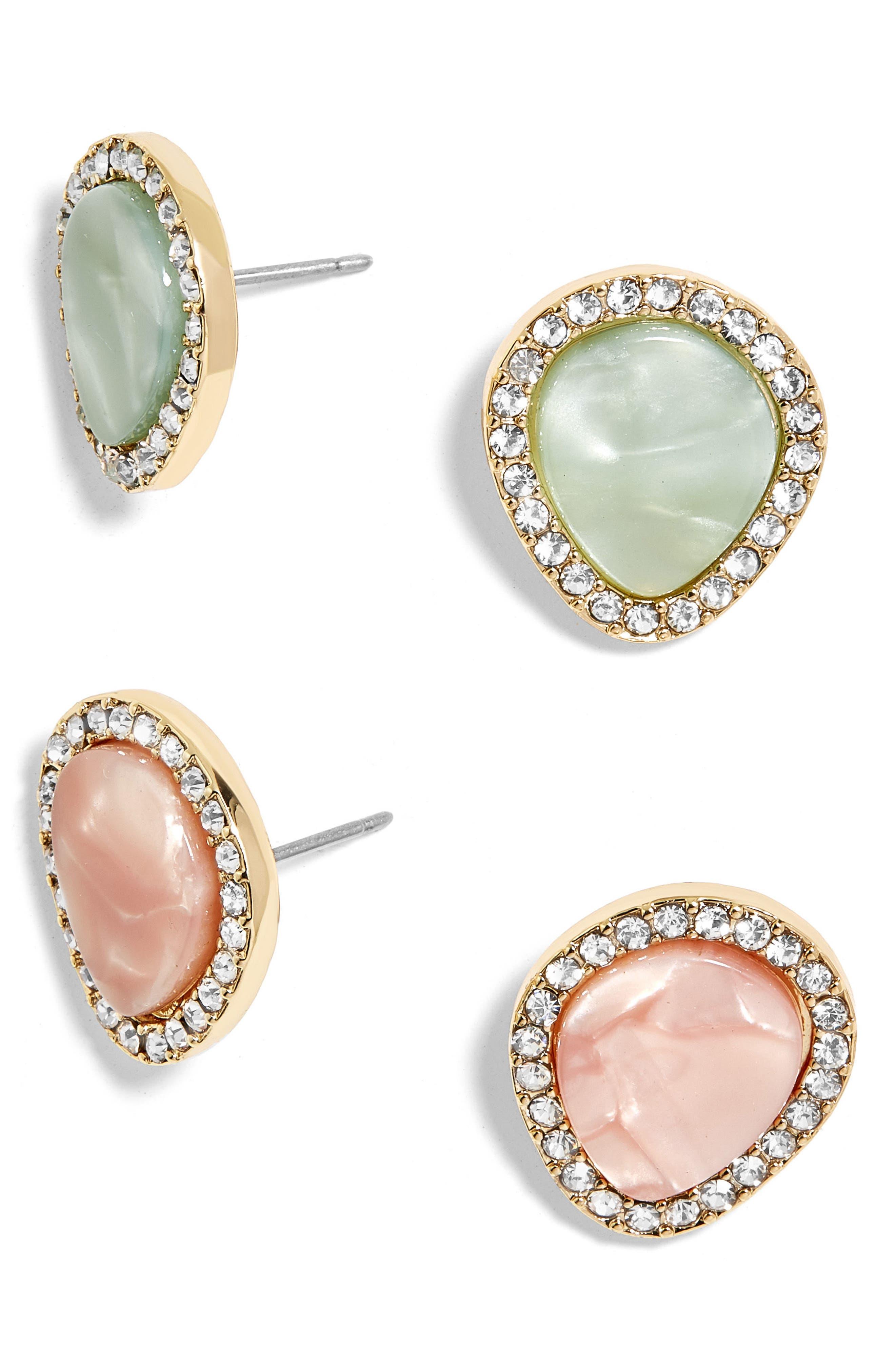 Set of 2 Crystal Encrusted Stud Earrings,                         Main,                         color, 042