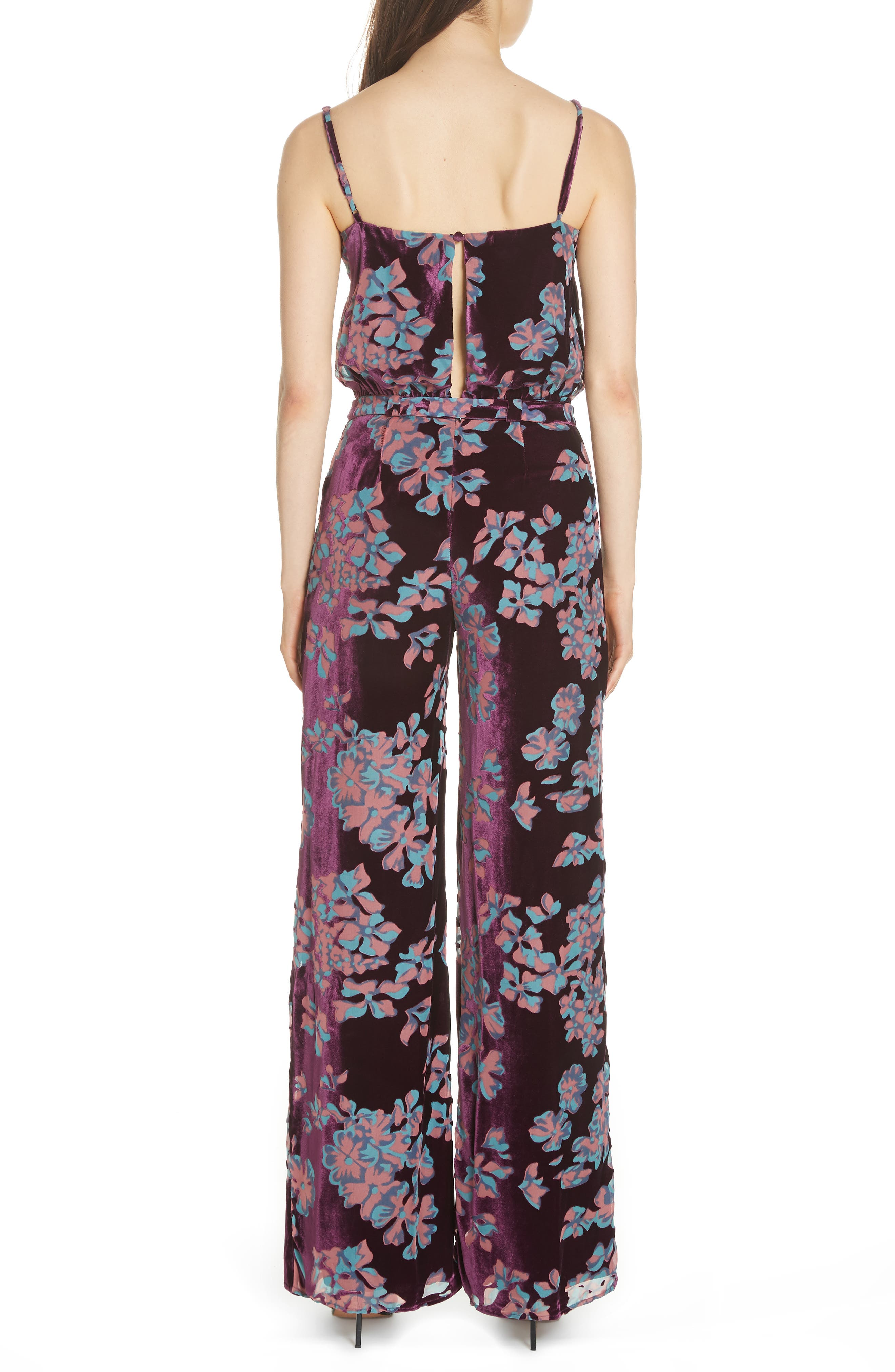 Loretta Floral & Stripe Print Jumpsuit,                             Alternate thumbnail 2, color,                             PLUM INSIGNIA 689