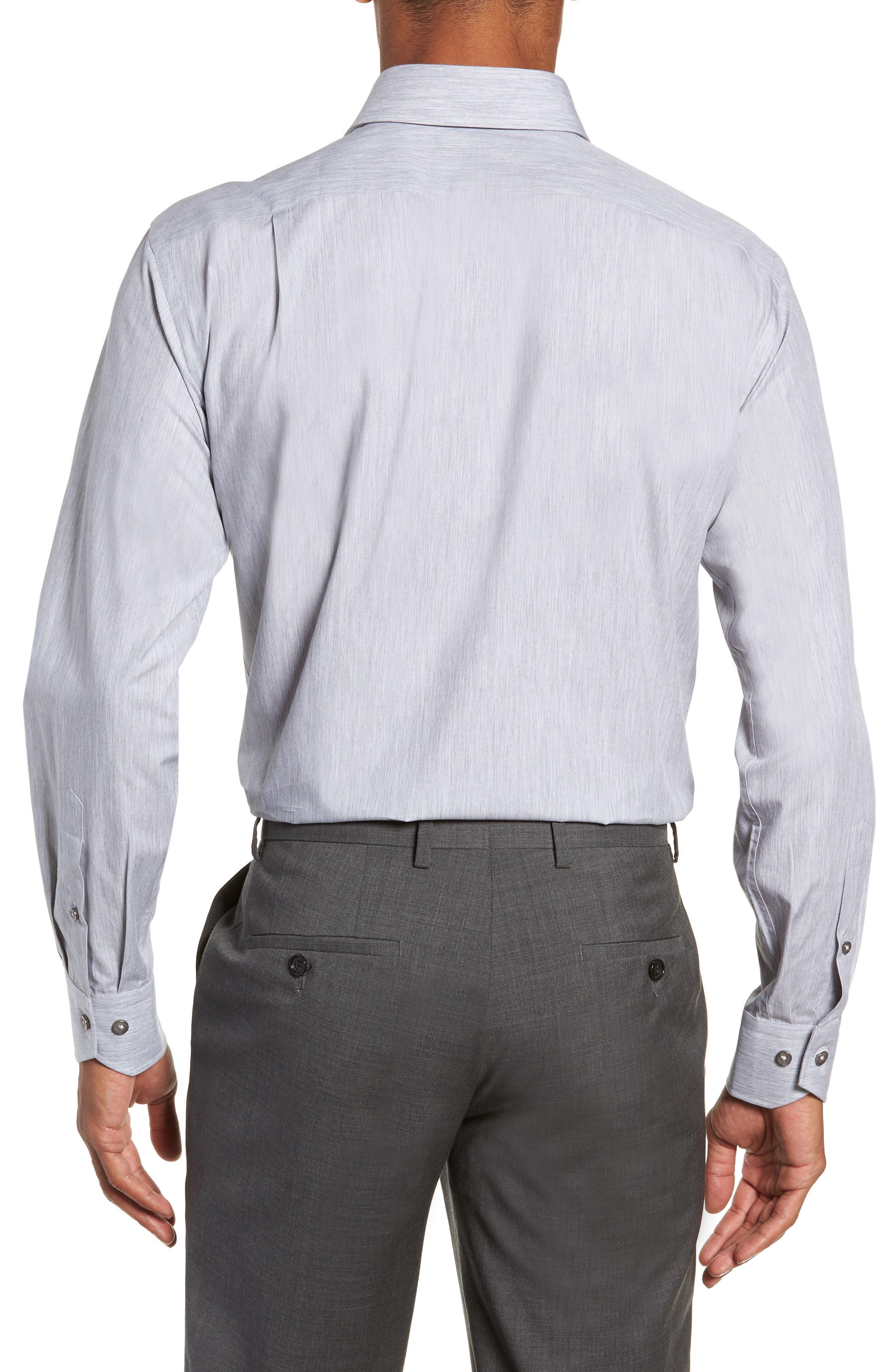 Trim Fit Solid Dress Shirt,                             Alternate thumbnail 3, color,                             050