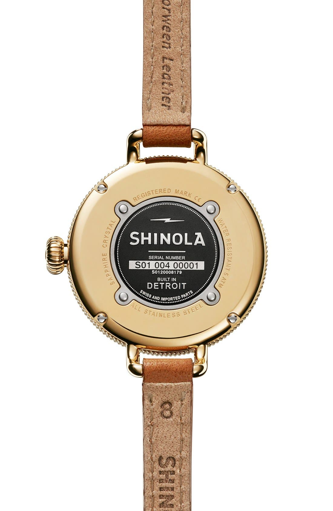 SHINOLA,                             The Birdy Moon Phase Leather Strap Watch, 34mm,                             Alternate thumbnail 2, color,                             200