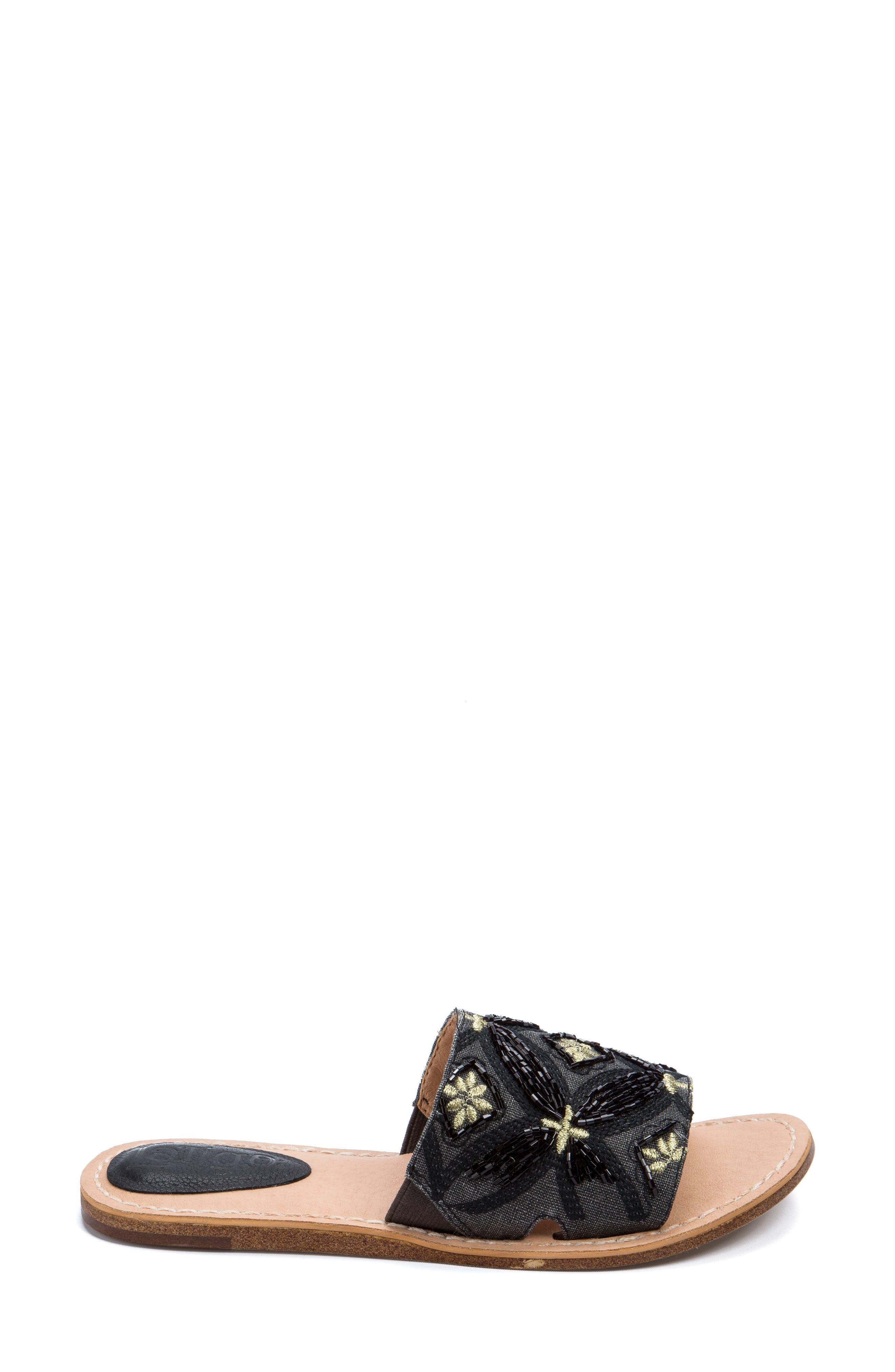 Vella Embellished Slide Sandal,                             Alternate thumbnail 3, color,                             001