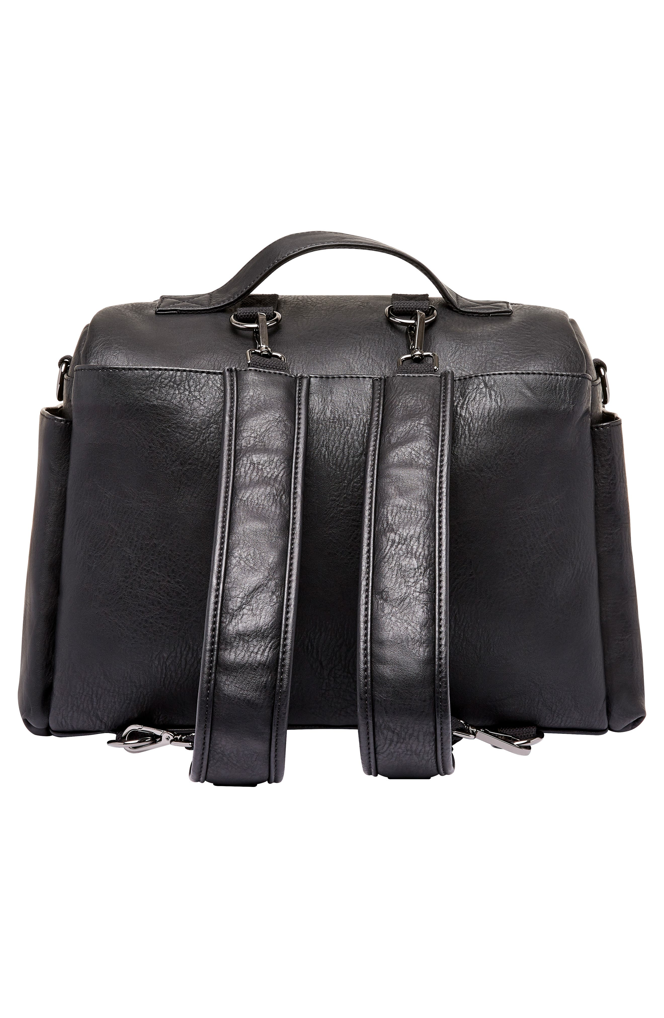 Cross Country Faux Leather Diaper Bag,                             Alternate thumbnail 2, color,                             BLACK