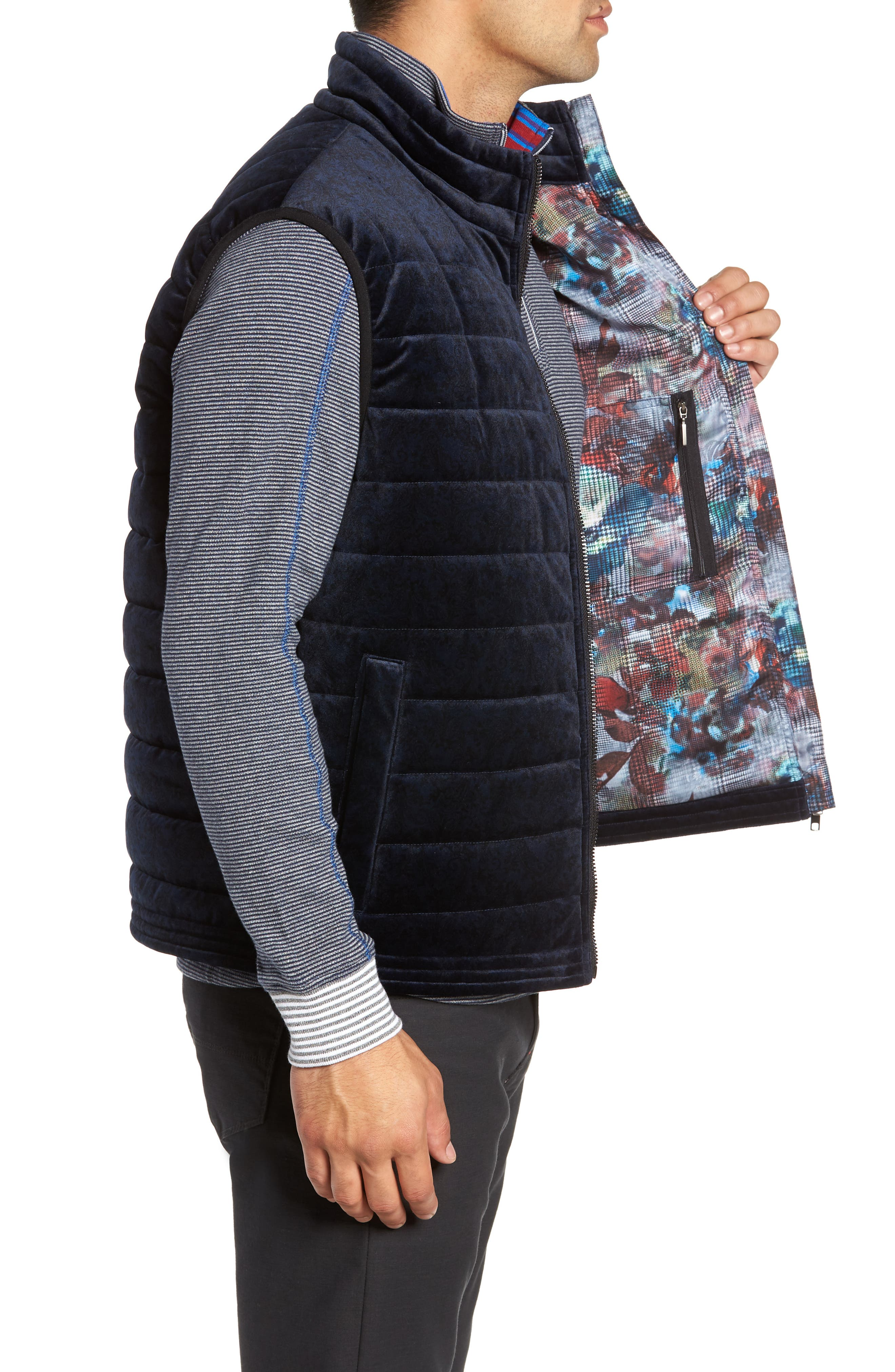 Guiffery Classic Fit Quilted Vest,                             Alternate thumbnail 3, color,                             NAVY
