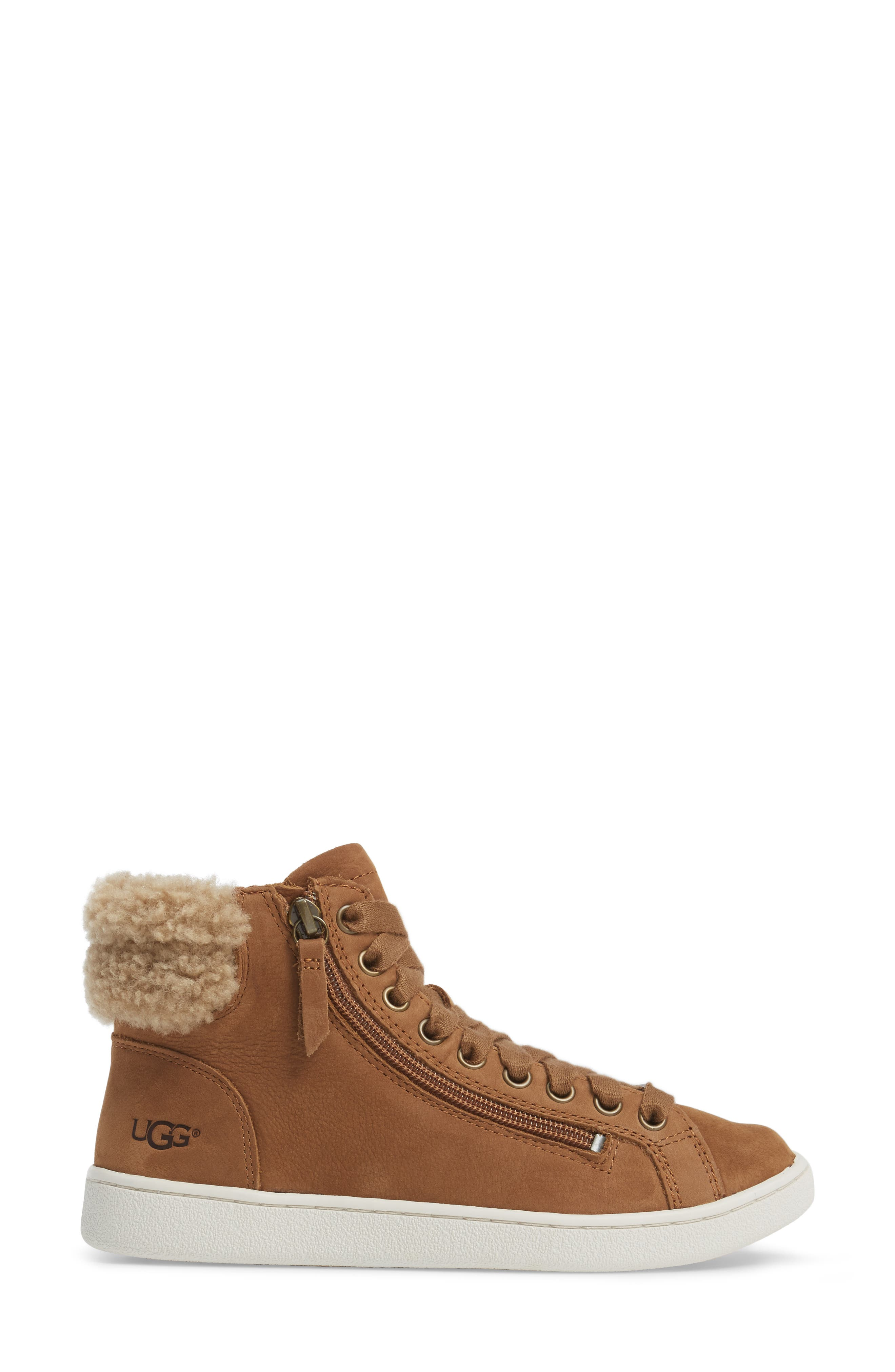 Olive Genuine Shearling Cuff Sneaker,                             Alternate thumbnail 3, color,                             219