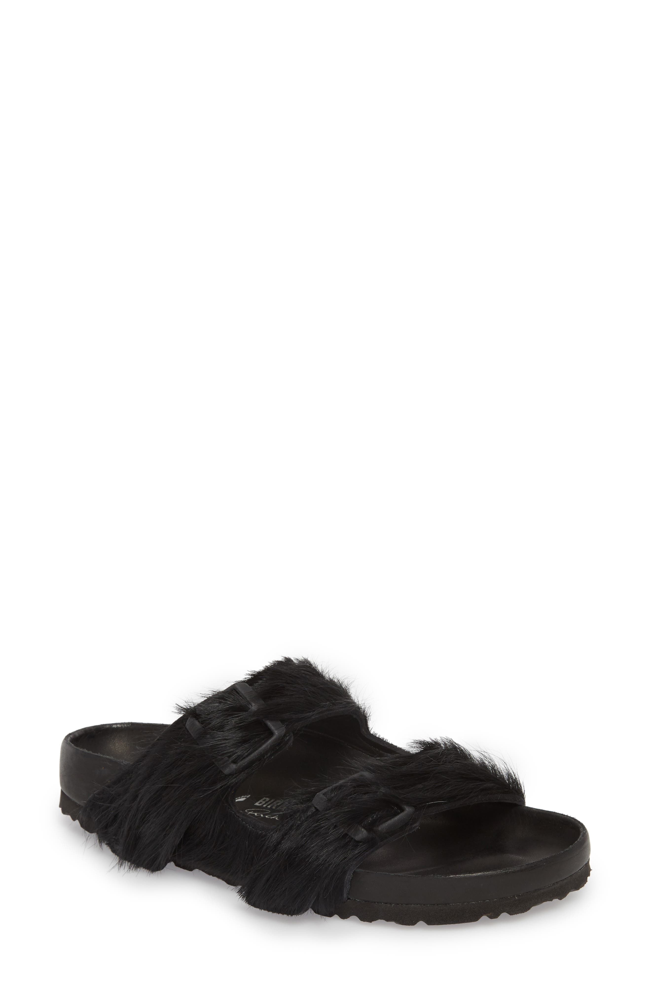 Rick Owens x Birkenstock Arizona Sandal,                             Main thumbnail 1, color,                             BLACK CALF HAIR
