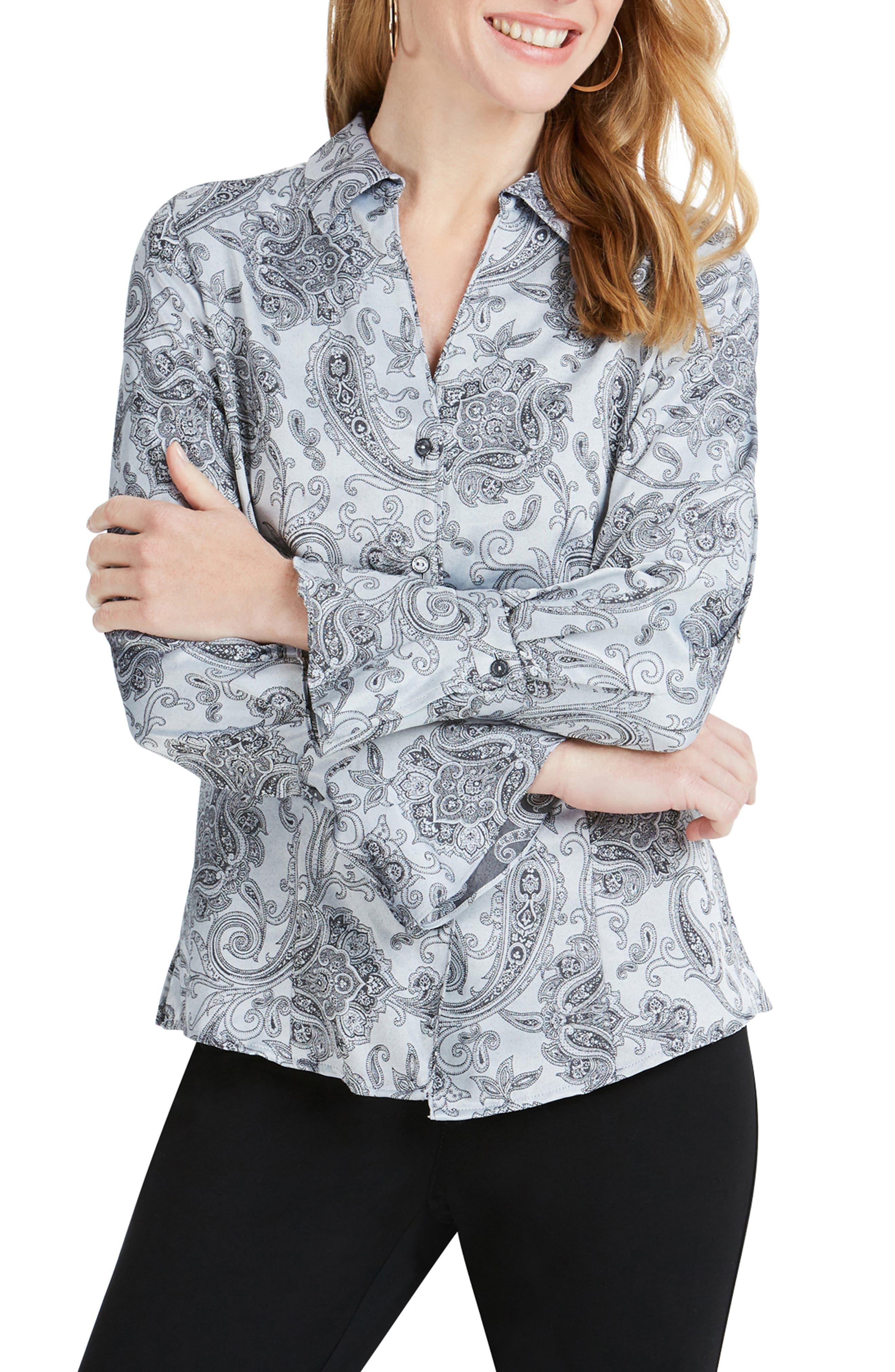 Ellery Paisley Jacquard Shirt, Main, color, STERLING