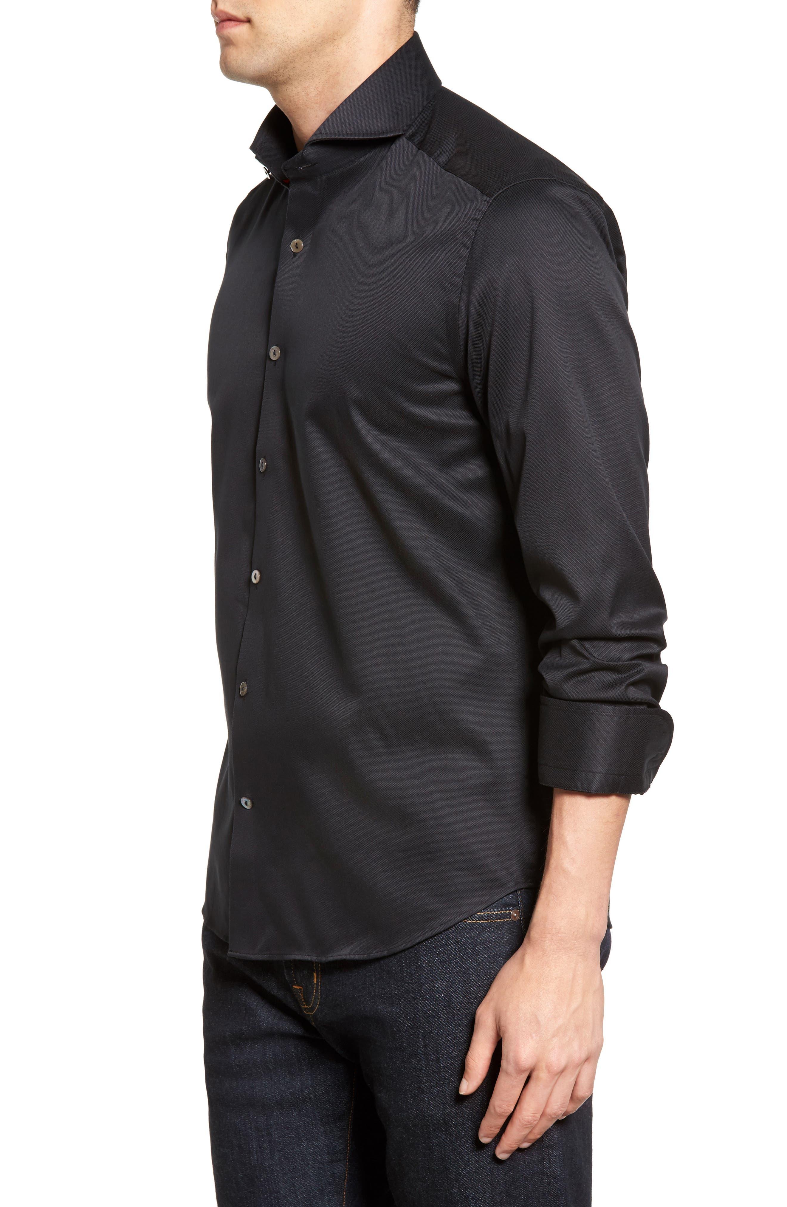 Textured Sport Shirt,                             Alternate thumbnail 3, color,                             BLACK