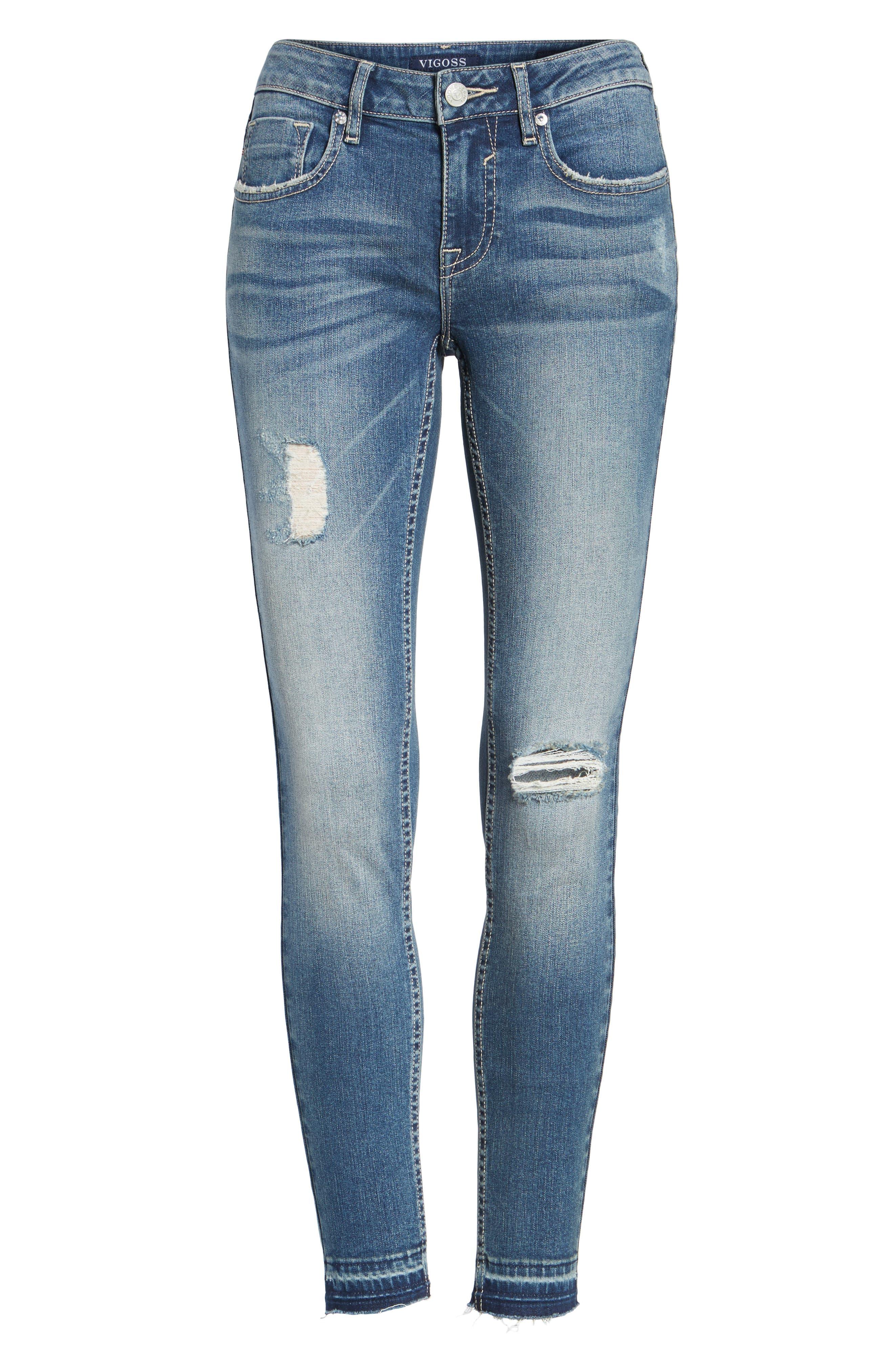 VIGOSS,                             Jagger Release Hem Skinny Jeans,                             Alternate thumbnail 6, color,                             426