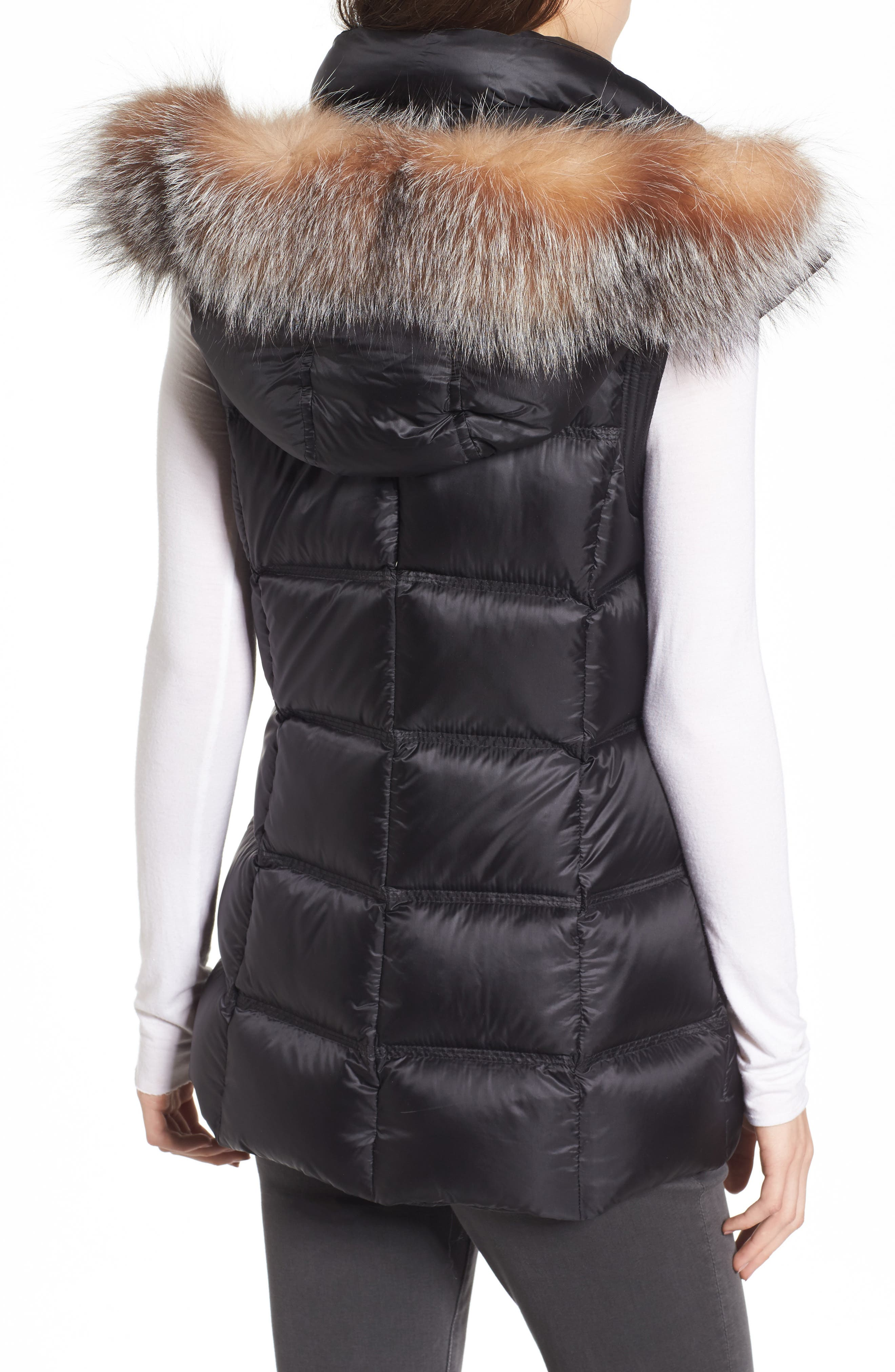 Cambridge Genuine Rabbit Fur & Leather Jacket,                             Alternate thumbnail 2, color,                             001