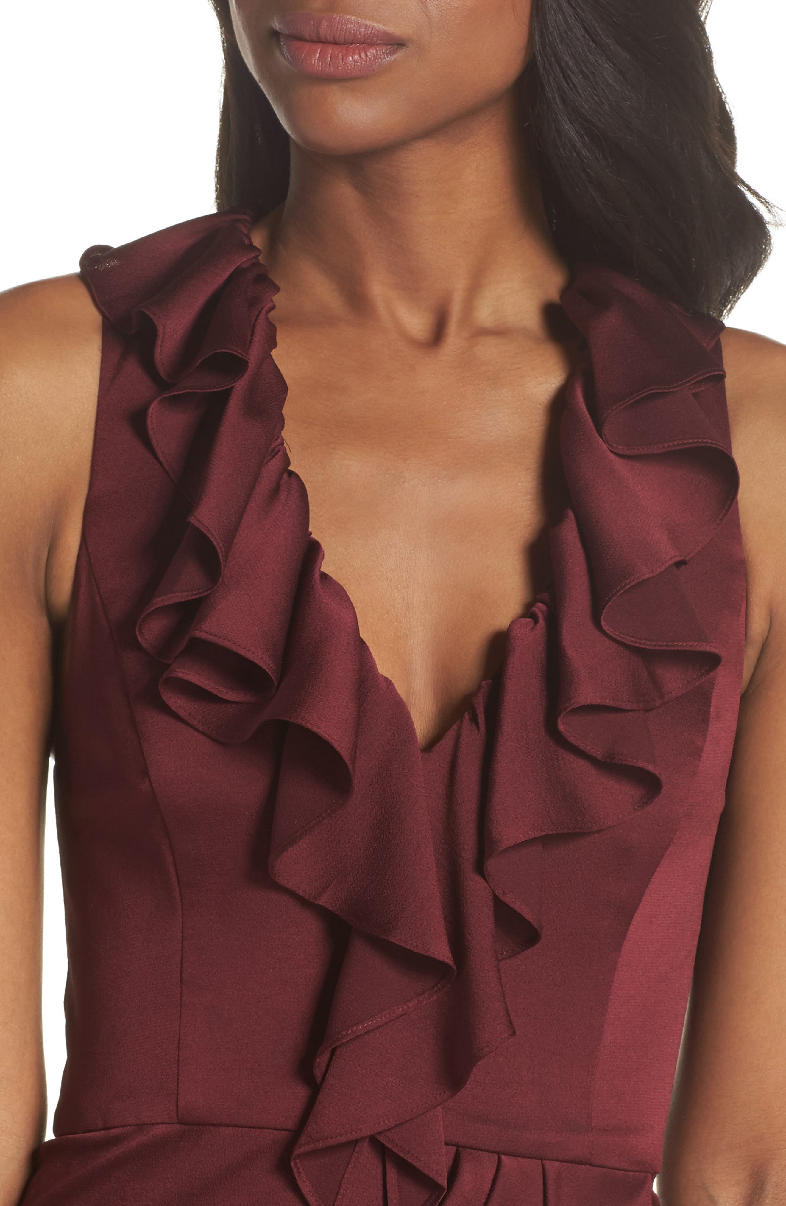 Luxe Plunging Frill Maxi Dress,                             Alternate thumbnail 4, color,                             GARNET