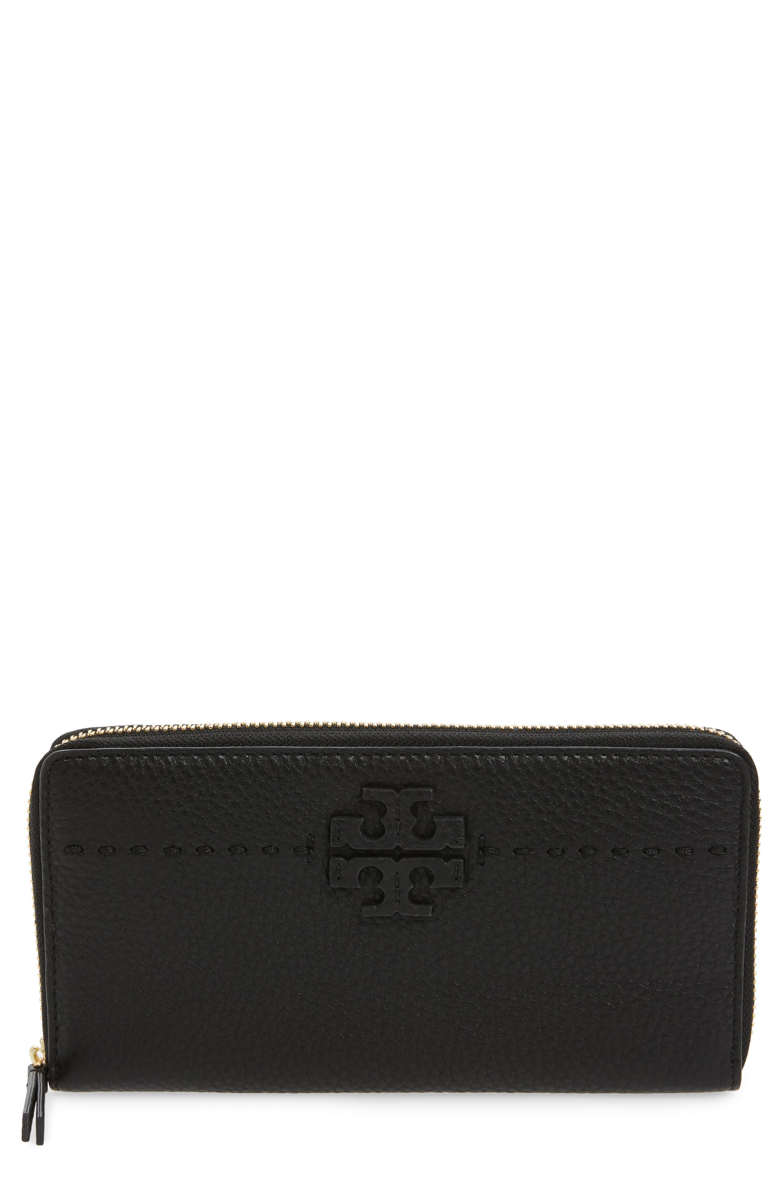 McGraw Leather Continental Zip Wallet,                             Main thumbnail 1, color,                             BLACK