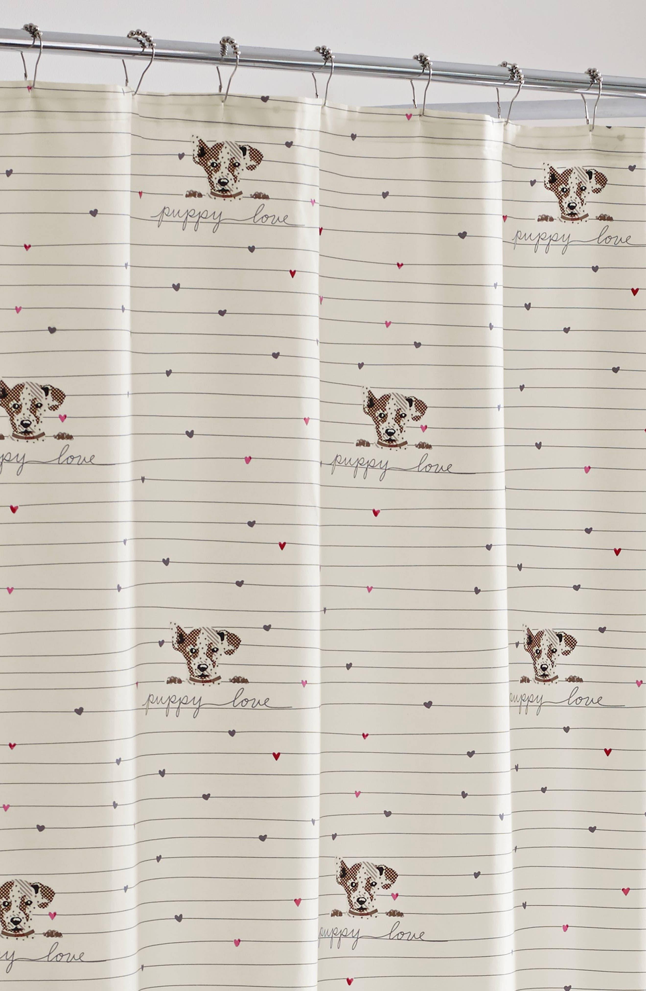 Puppy Love Shower Curtain,                             Alternate thumbnail 2, color,                             WHITE BEIGE