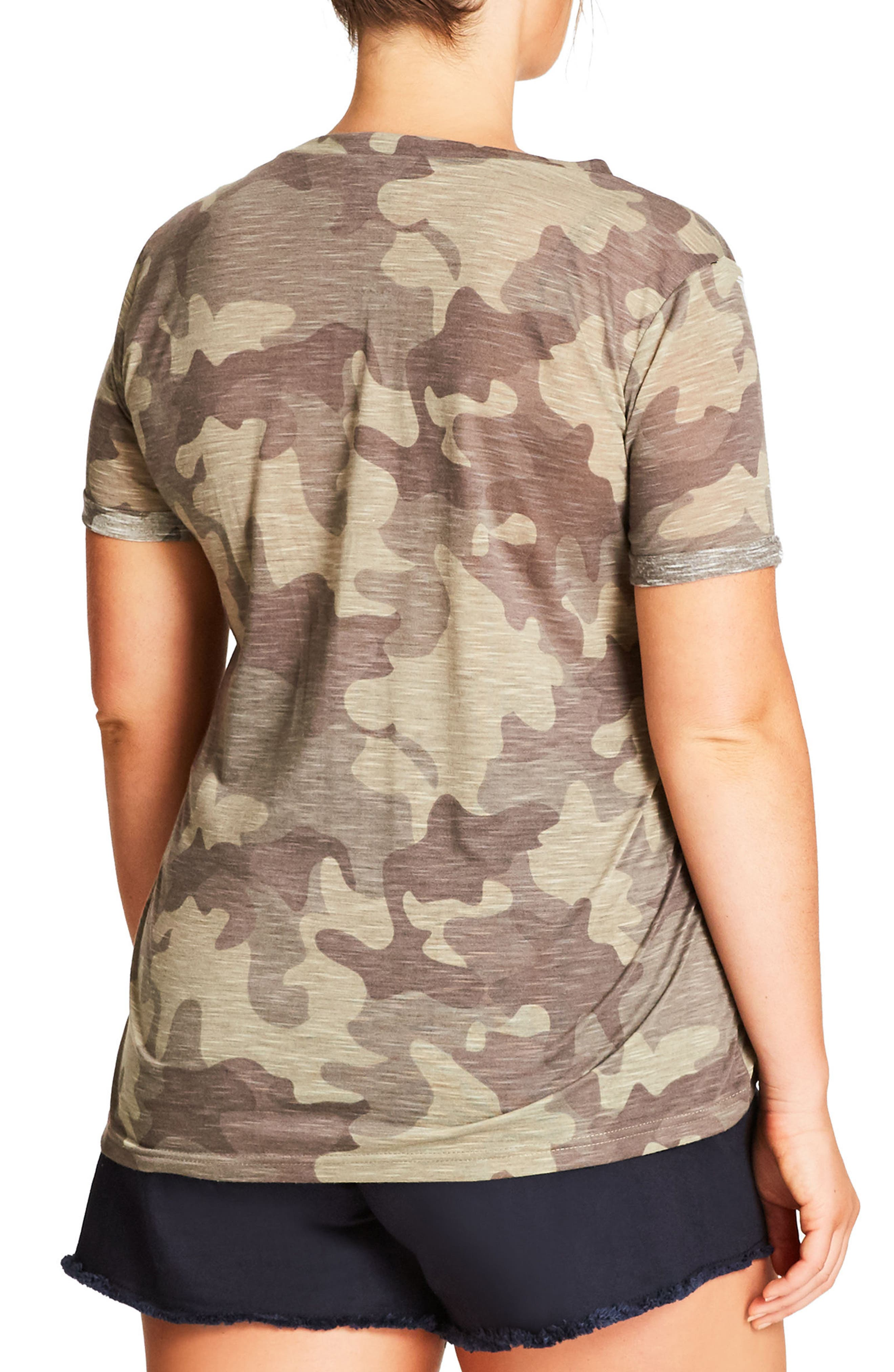 Camouflage Print Top,                             Alternate thumbnail 4, color,