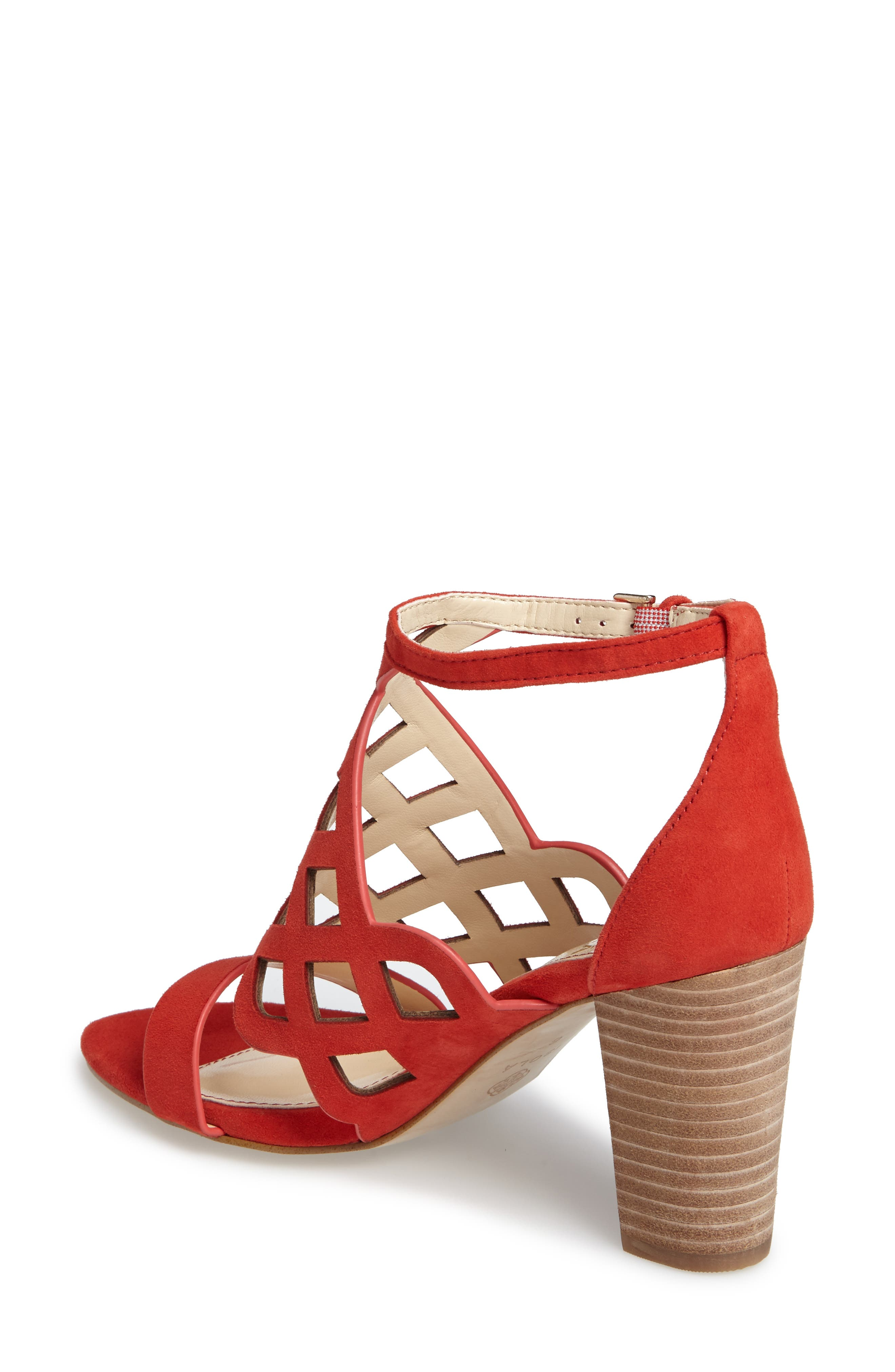 Despina Cutout Ankle Strap Sandal,                             Alternate thumbnail 3, color,                             LIPSTICK RED SUEDE