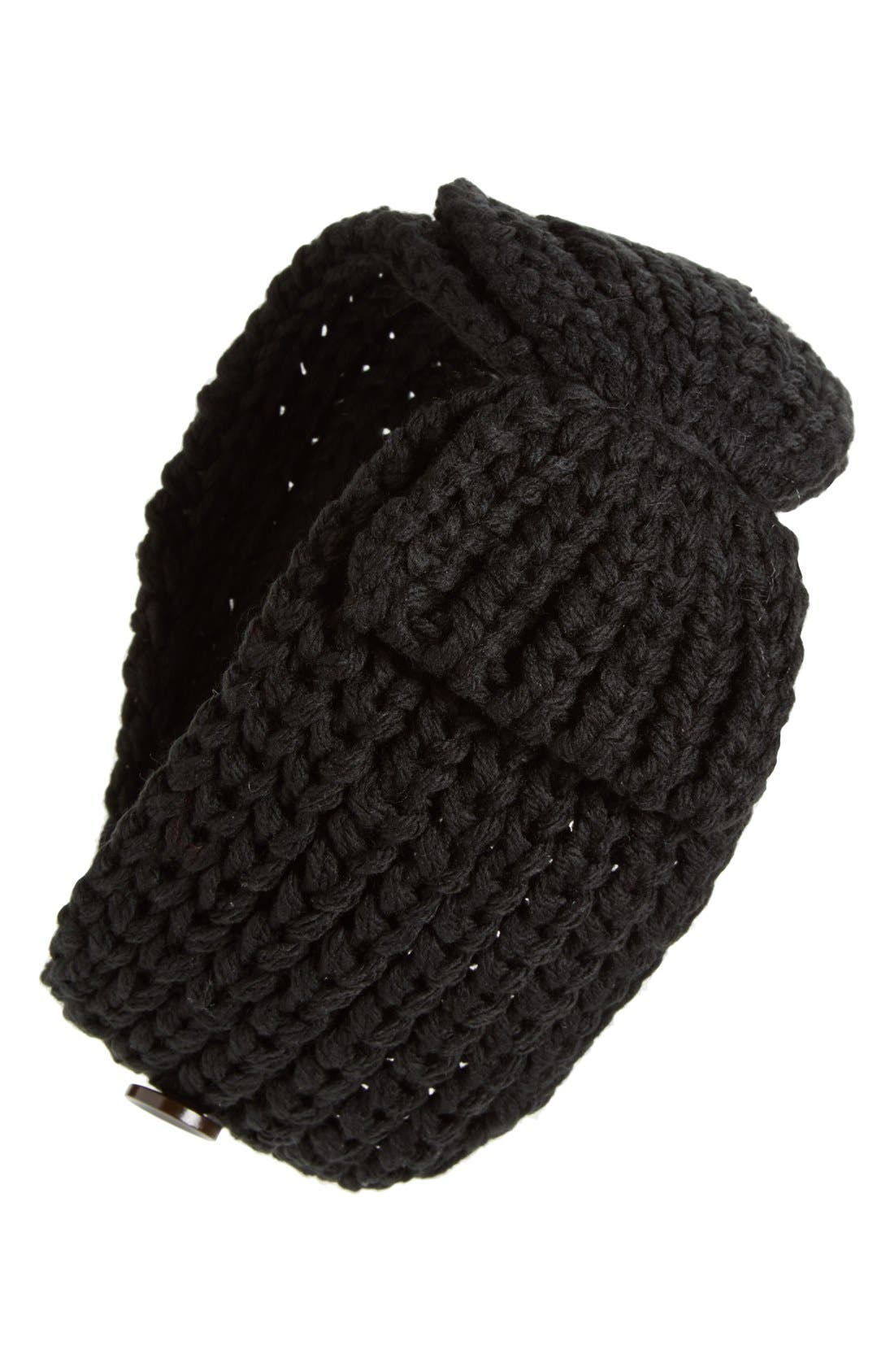 DAVID & YOUNG,                             Knit Bow Head Wrap,                             Main thumbnail 1, color,                             001
