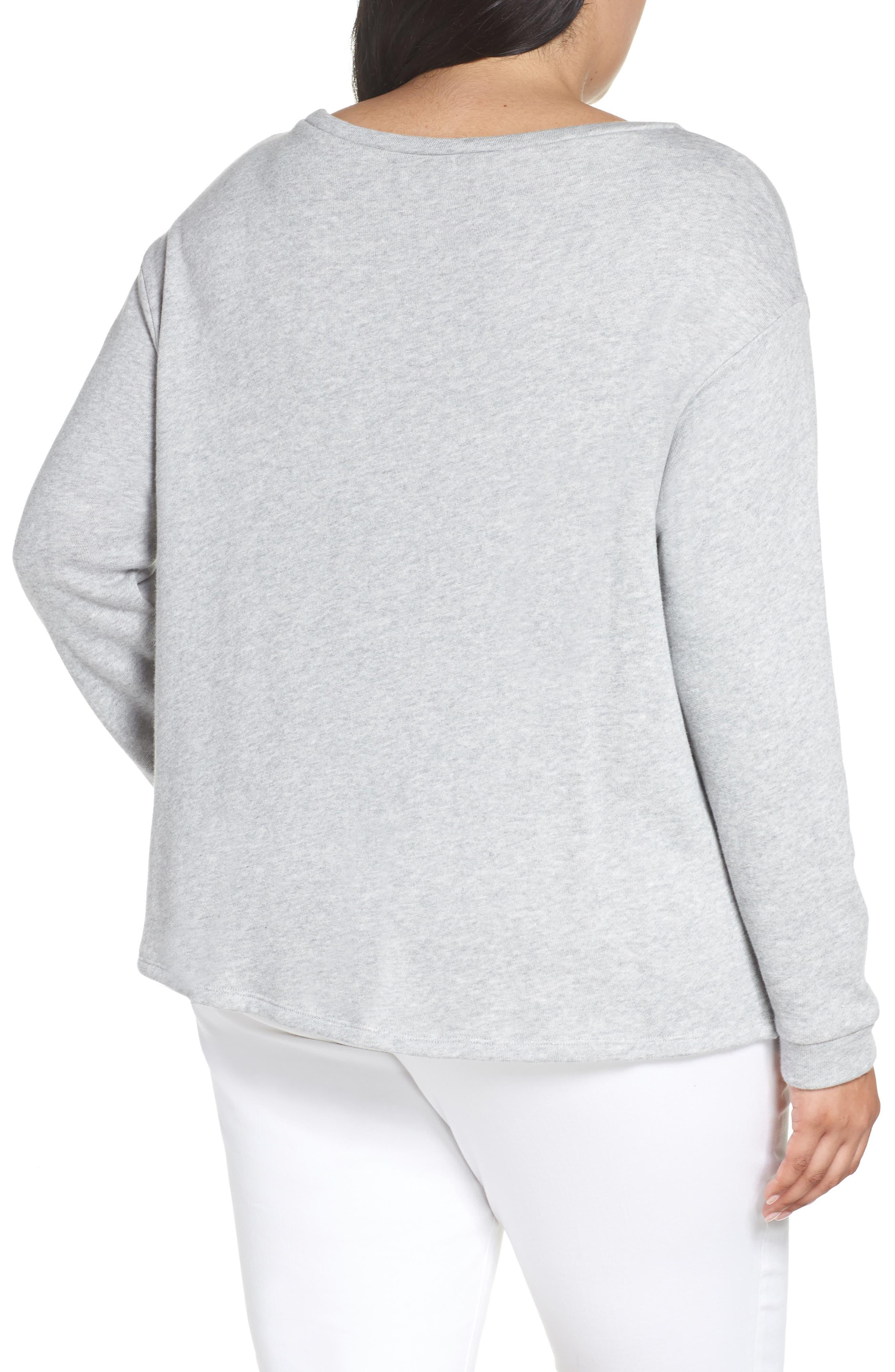 Twist Front Sweatshirt,                             Alternate thumbnail 2, color,                             GREY HEATHER